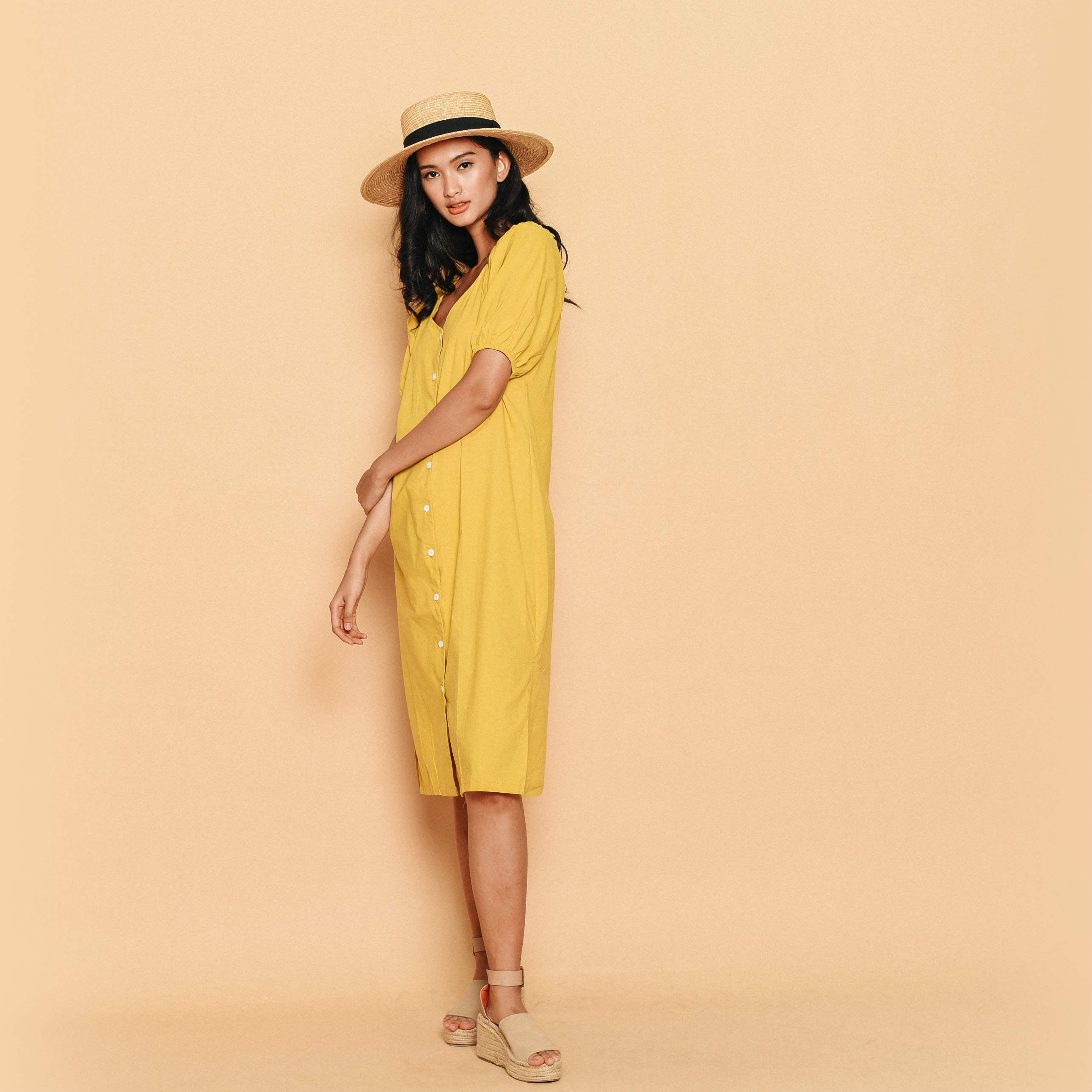 Susie Puff Sleeve Dress - Yellow