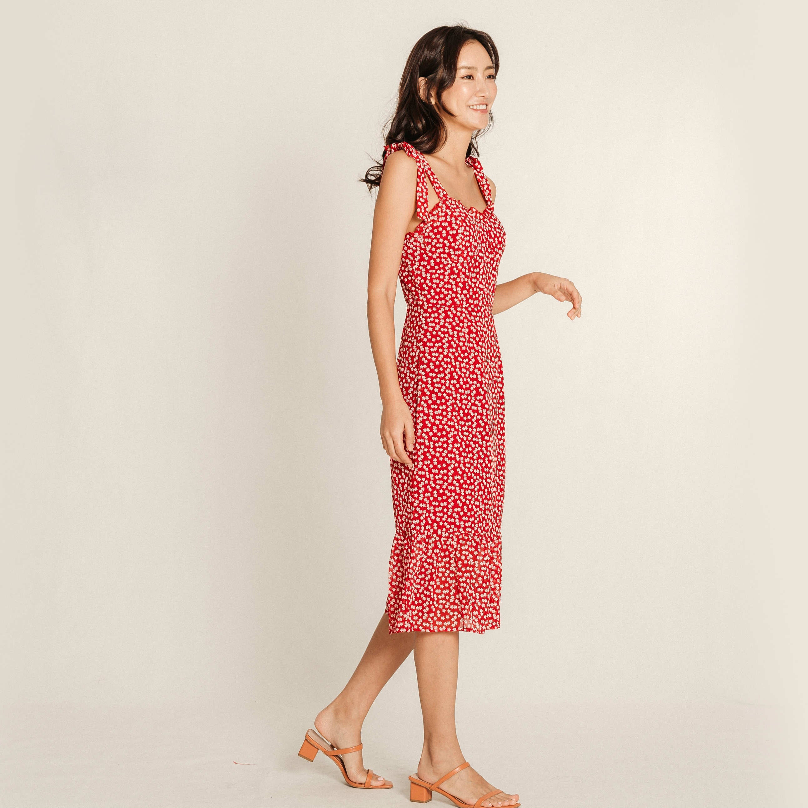 Inez Ribbon Dress - Red
