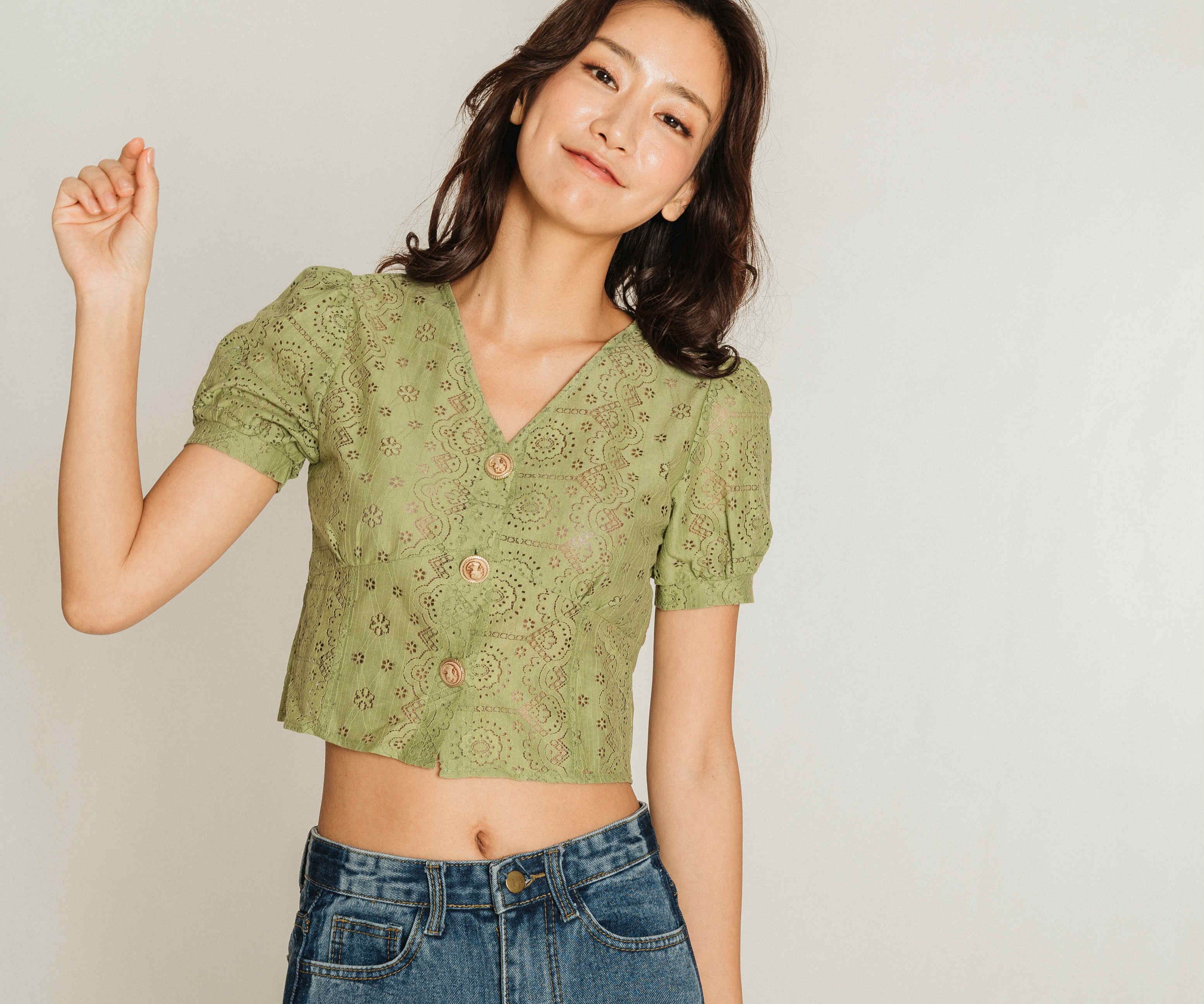 Alia Eyelet Buttoned Top