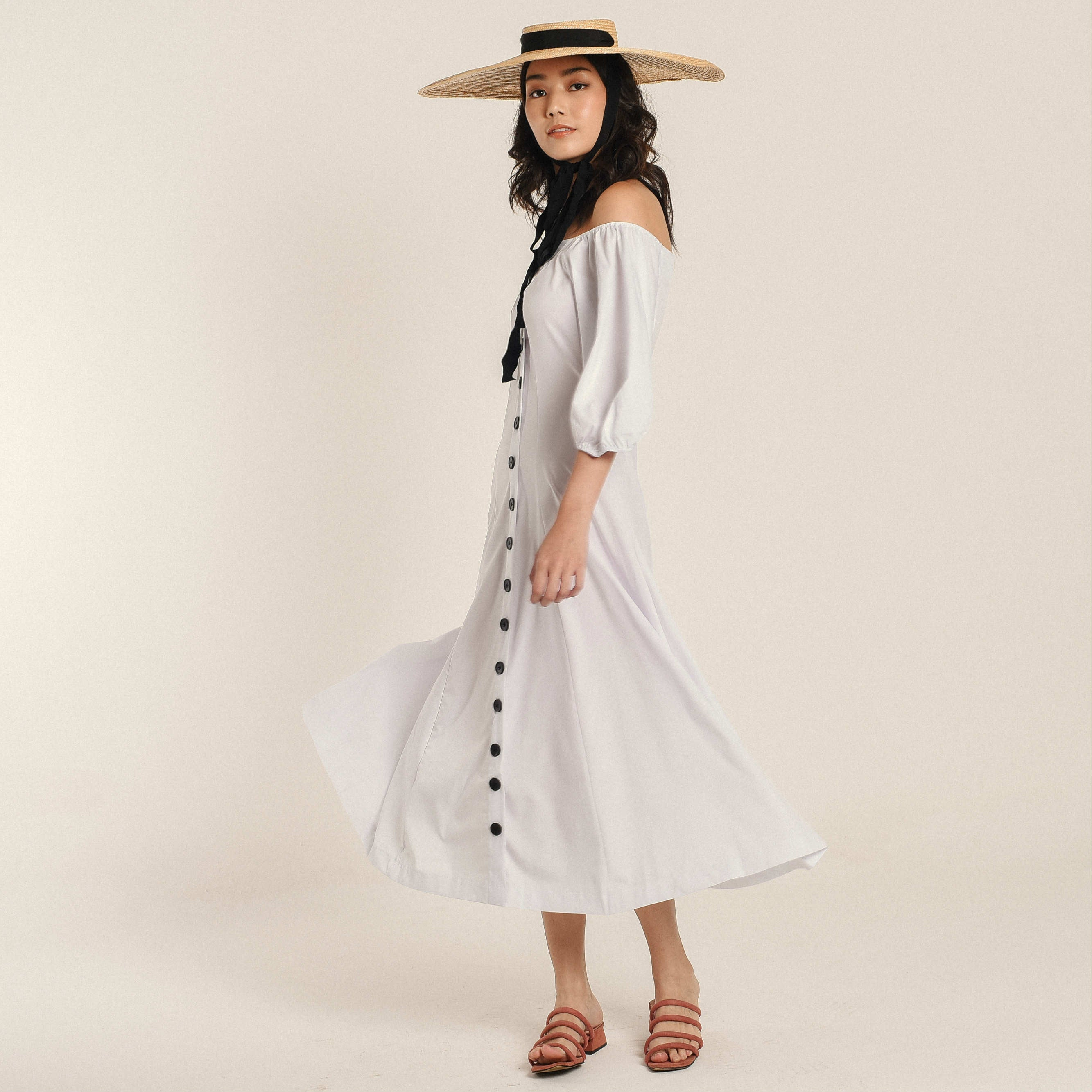 Mira Off-Shoulder Buttoned Dress