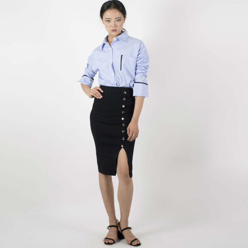 Palin Buttoned Skirt - Black