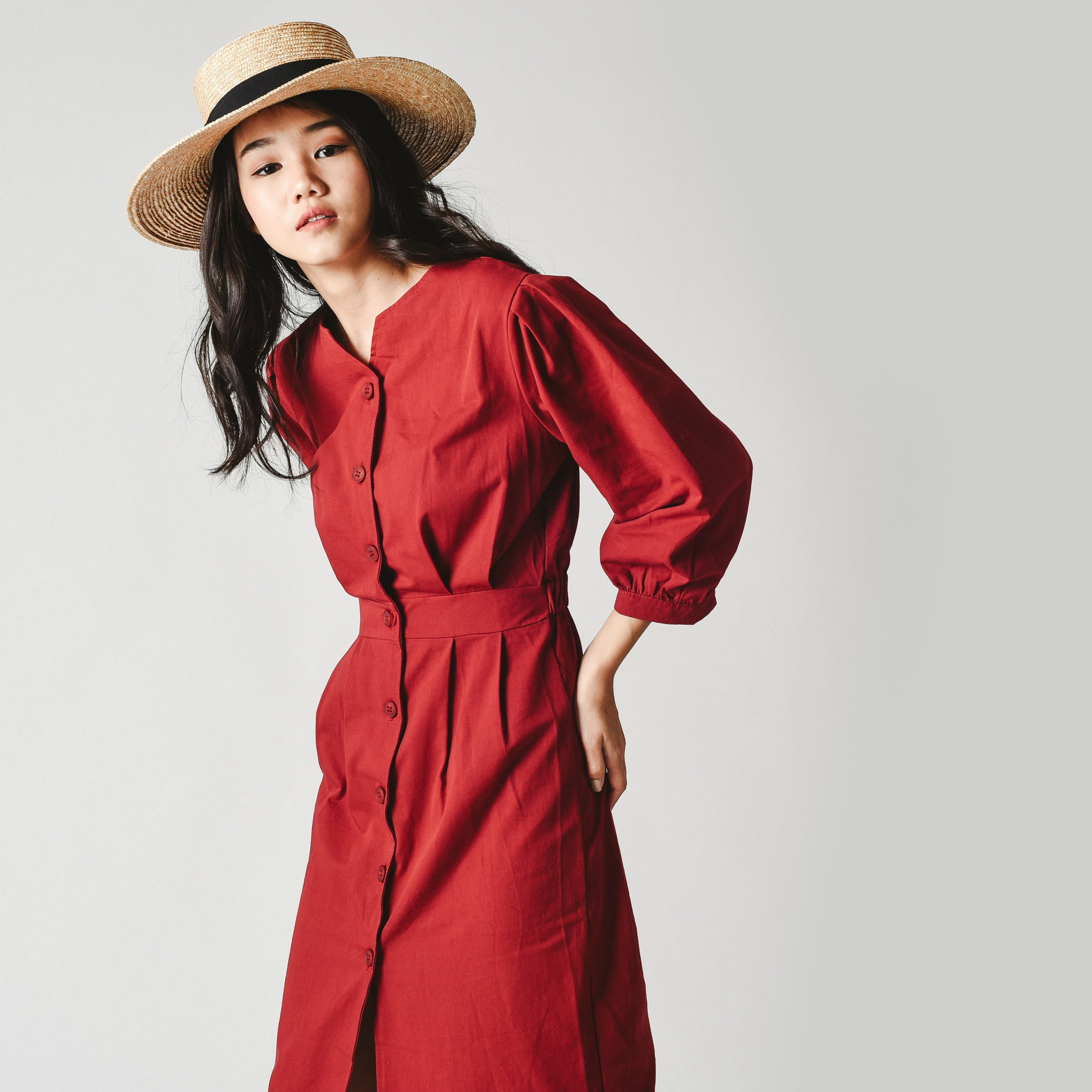 Missha Buttoned Dress - Wine Red
