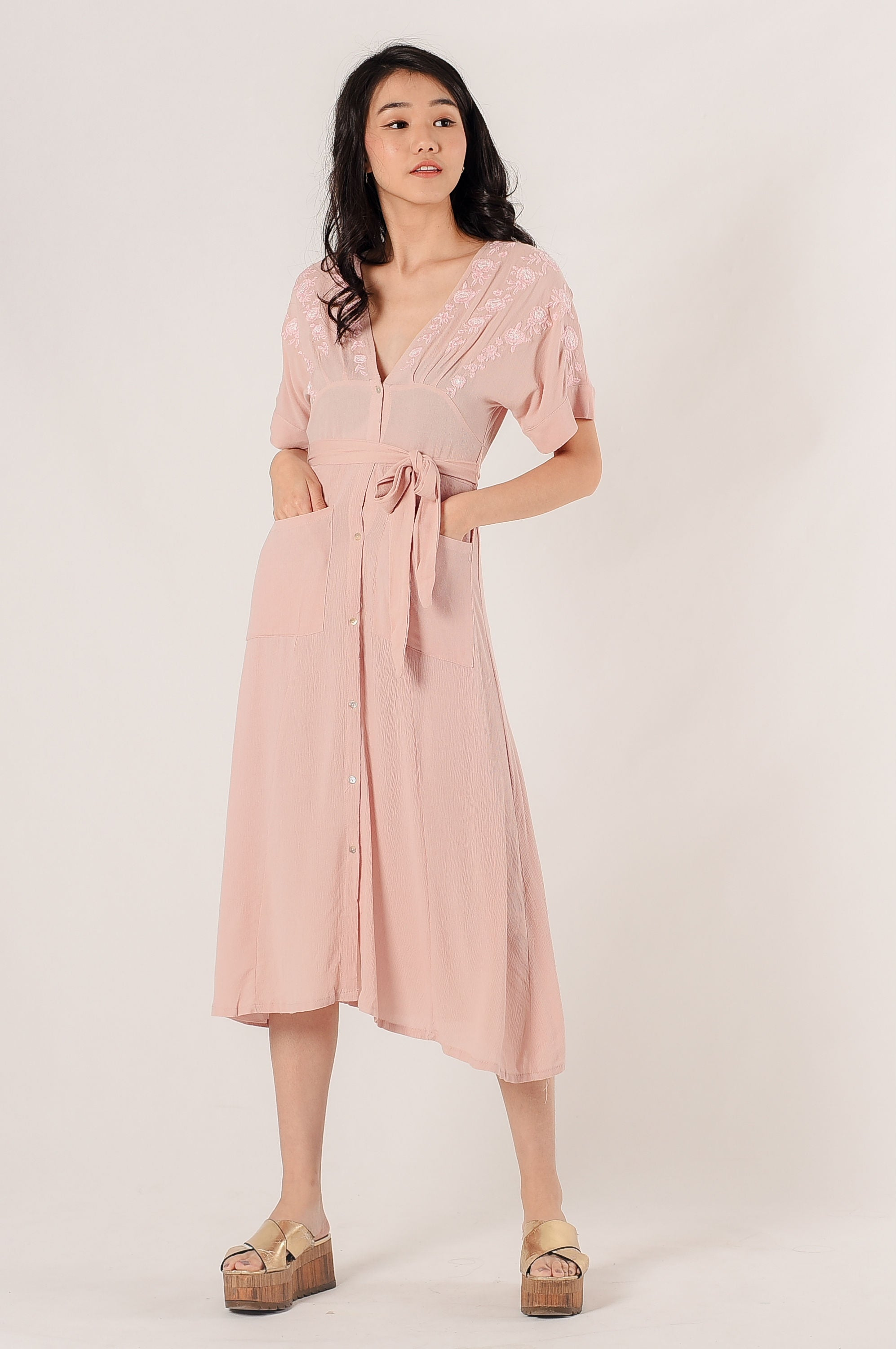 Kay Embroidered Dress - Pink