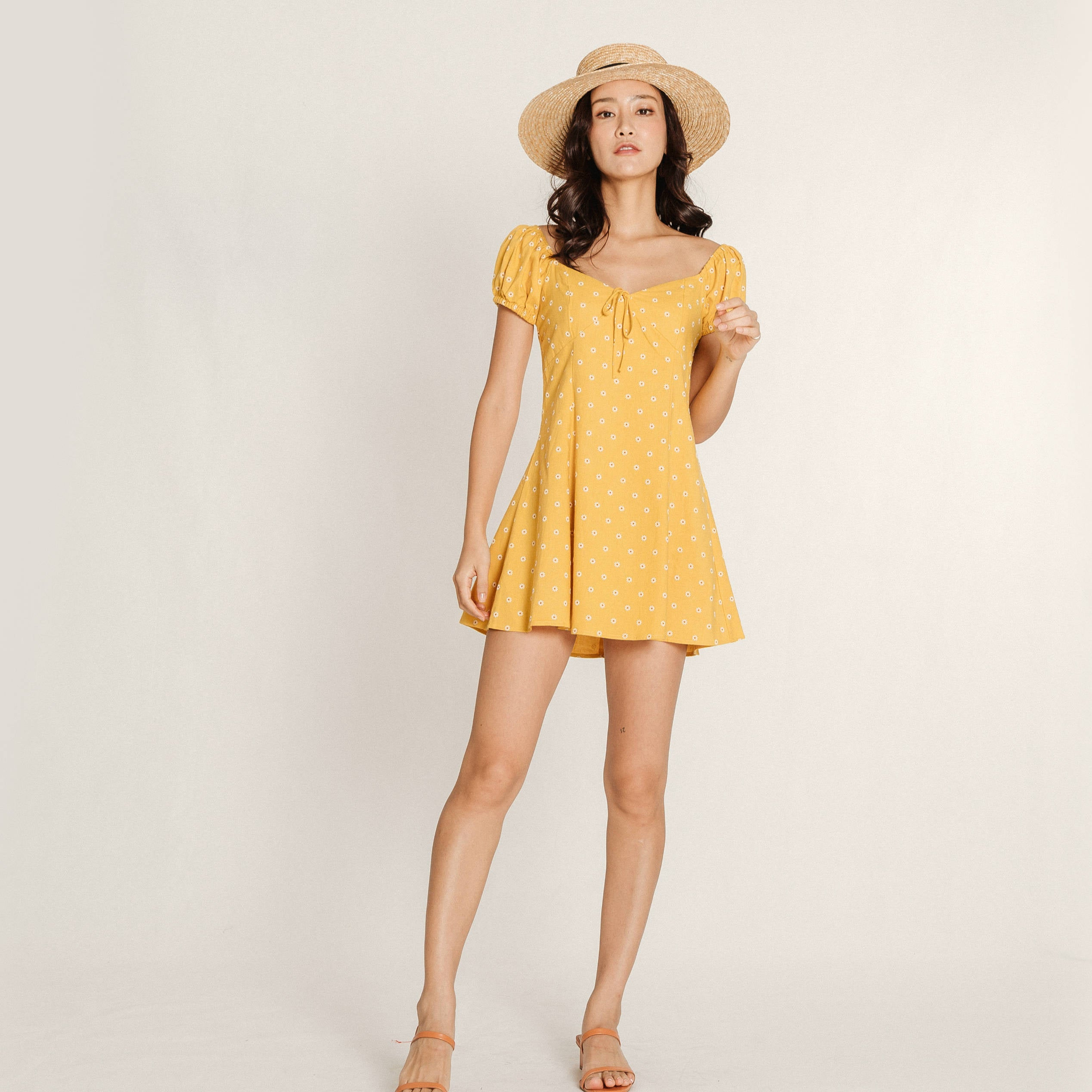 Ortisia Yellow Mini Heart Dress