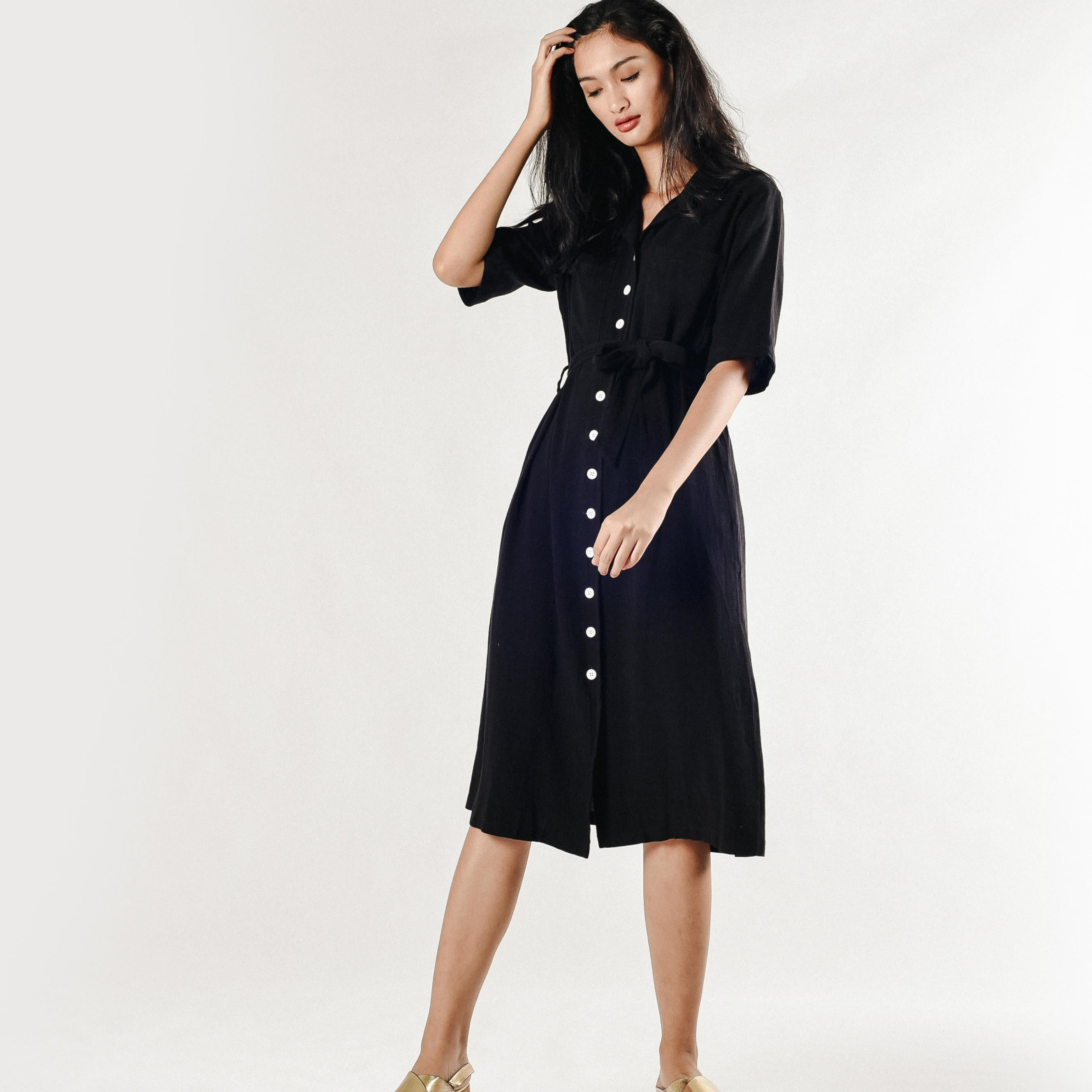 Jennie Buttoned Dress - Black