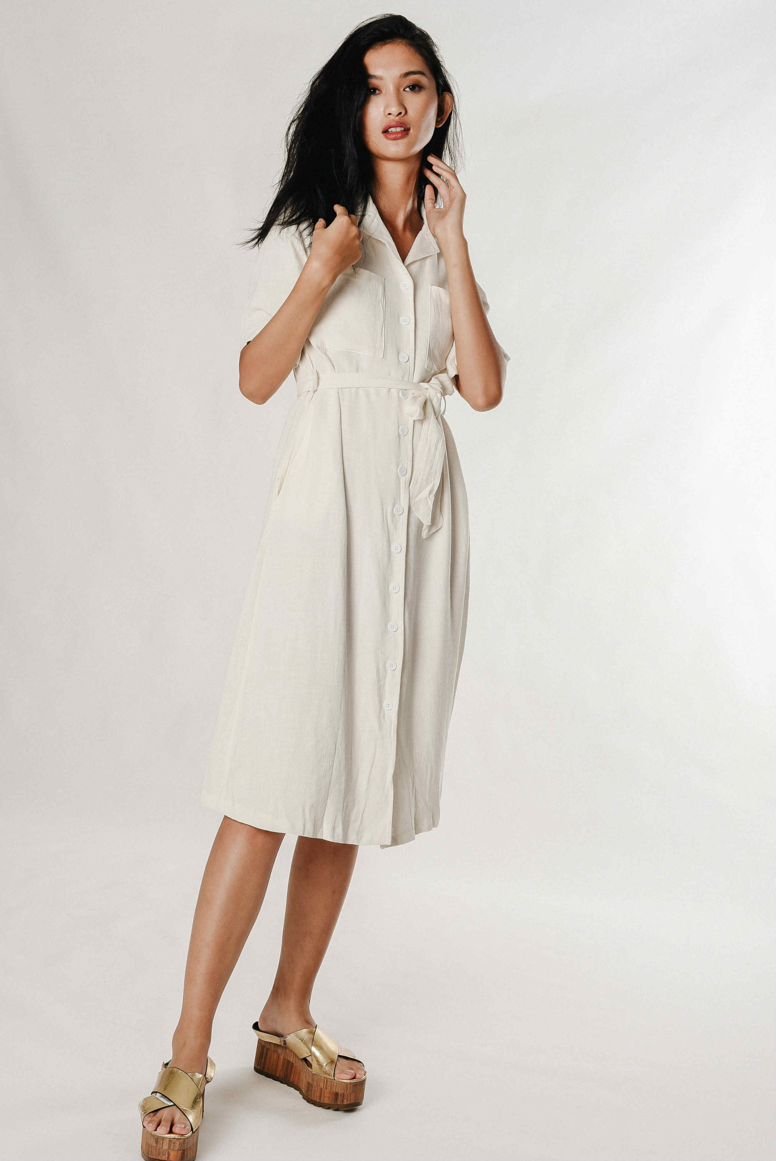 Jennie Buttoned Dress - White