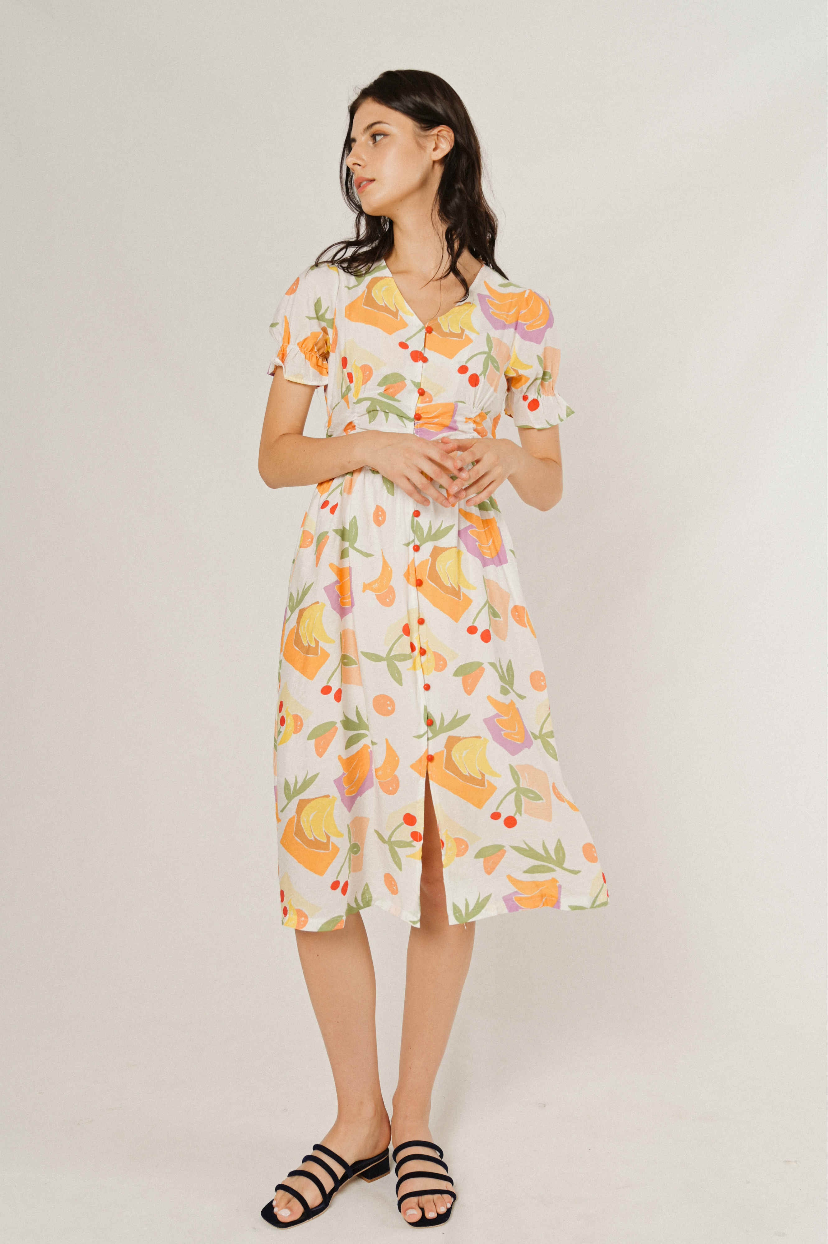 Francisca Printed Buttoned Dress