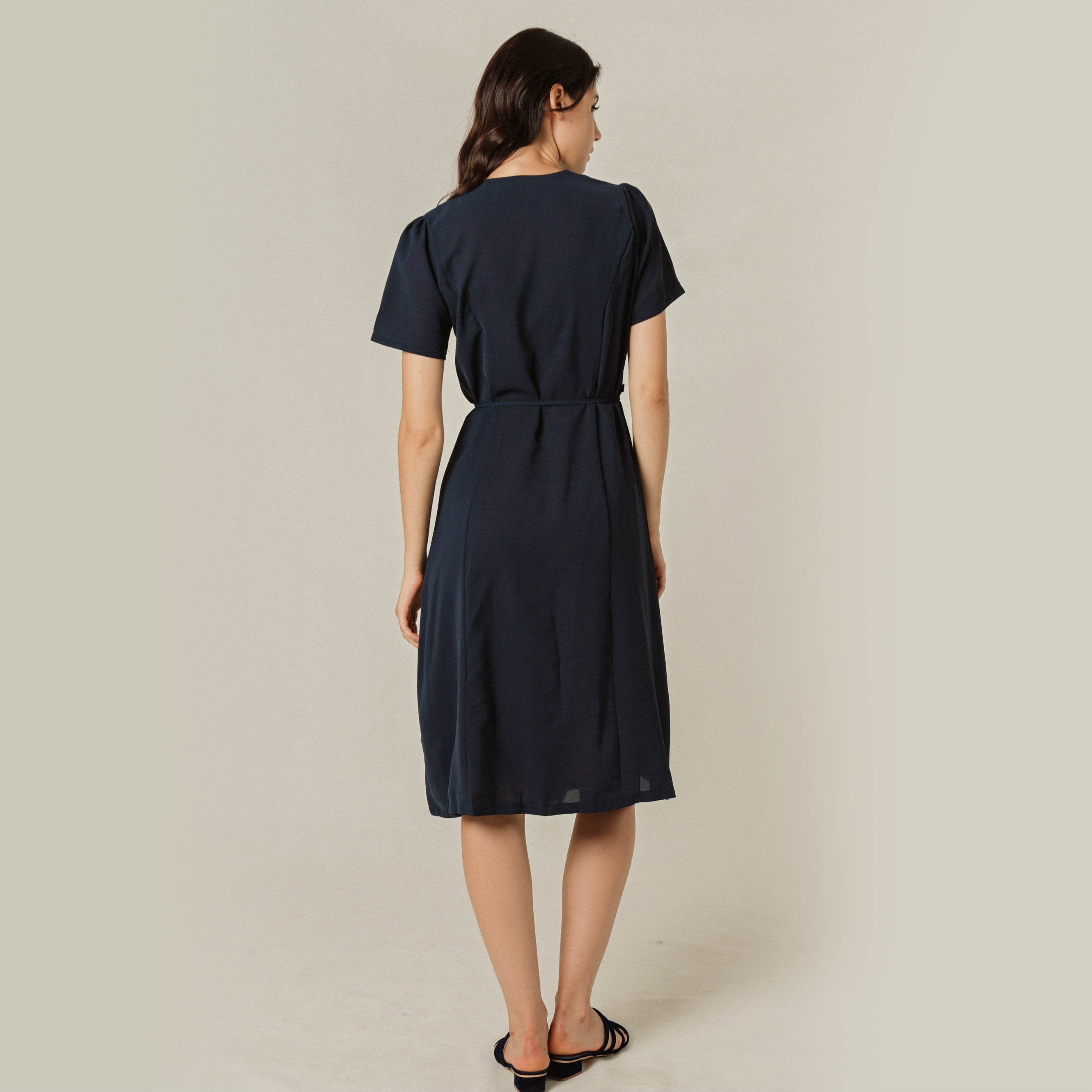 Wyan Buttoned Dress - Navy