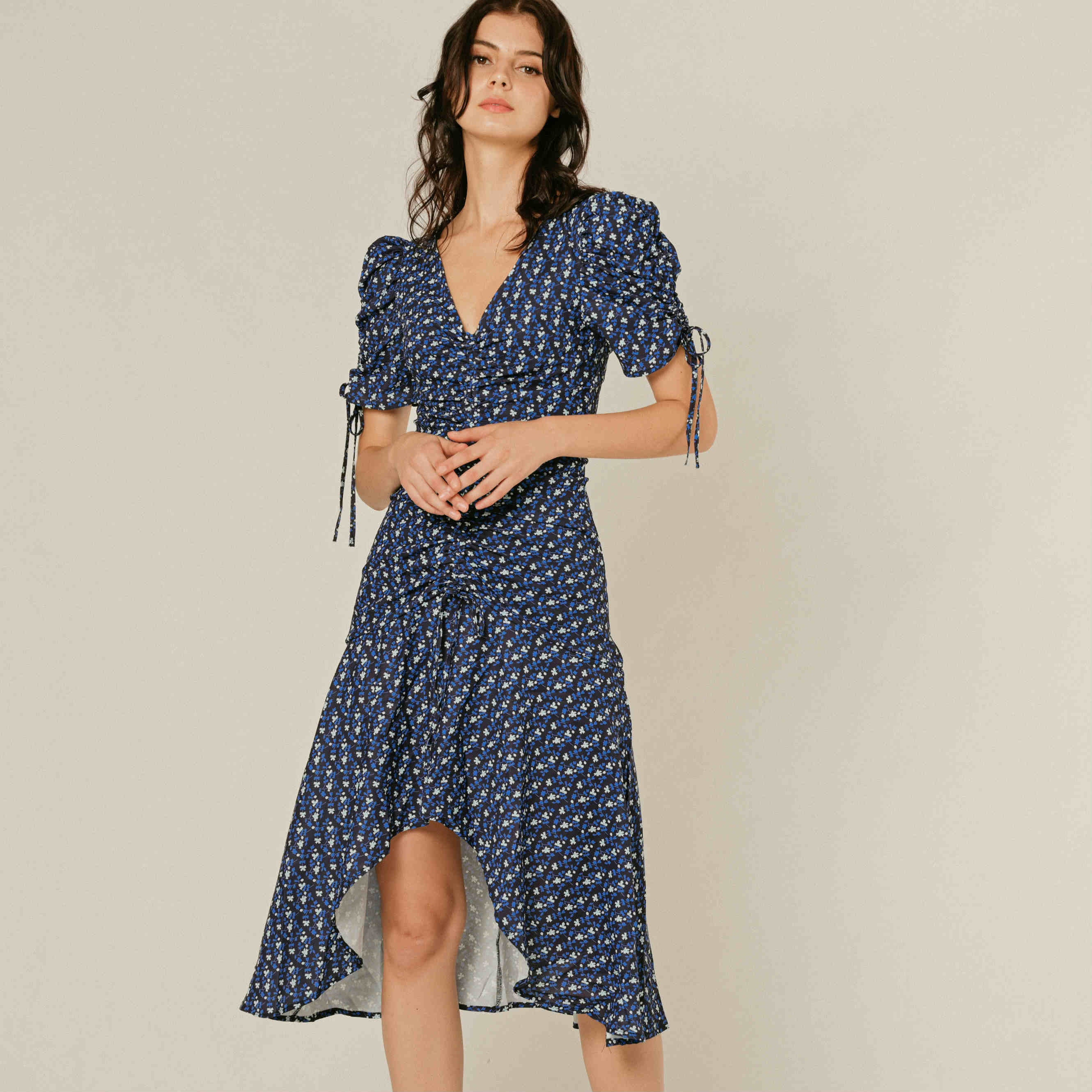 Luna Gathered Printed Dress