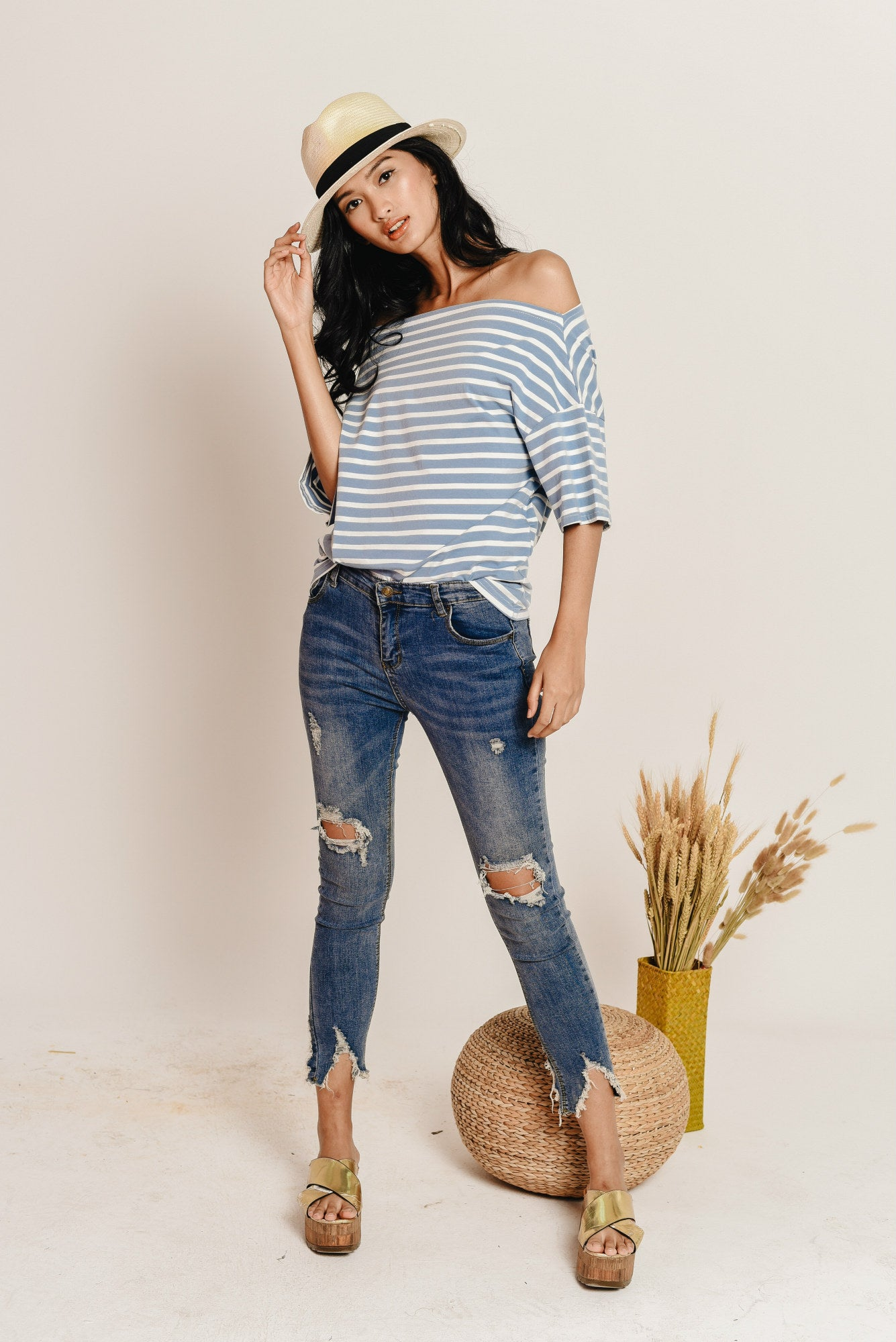 Olivia Off-Shoulder Striped Top