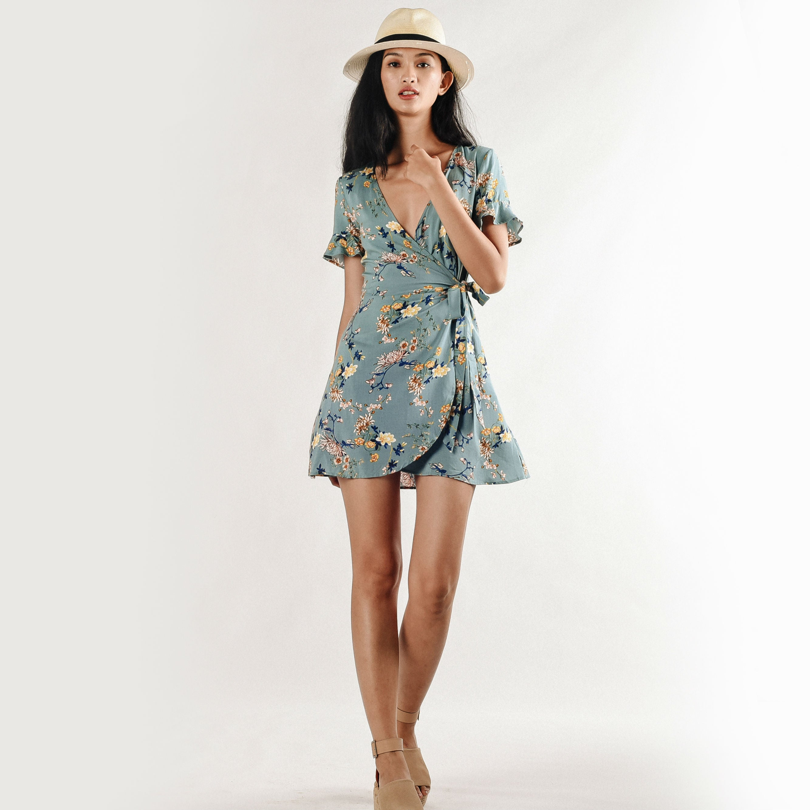 Ploy Floral Wrap Dress - Tiffany Green