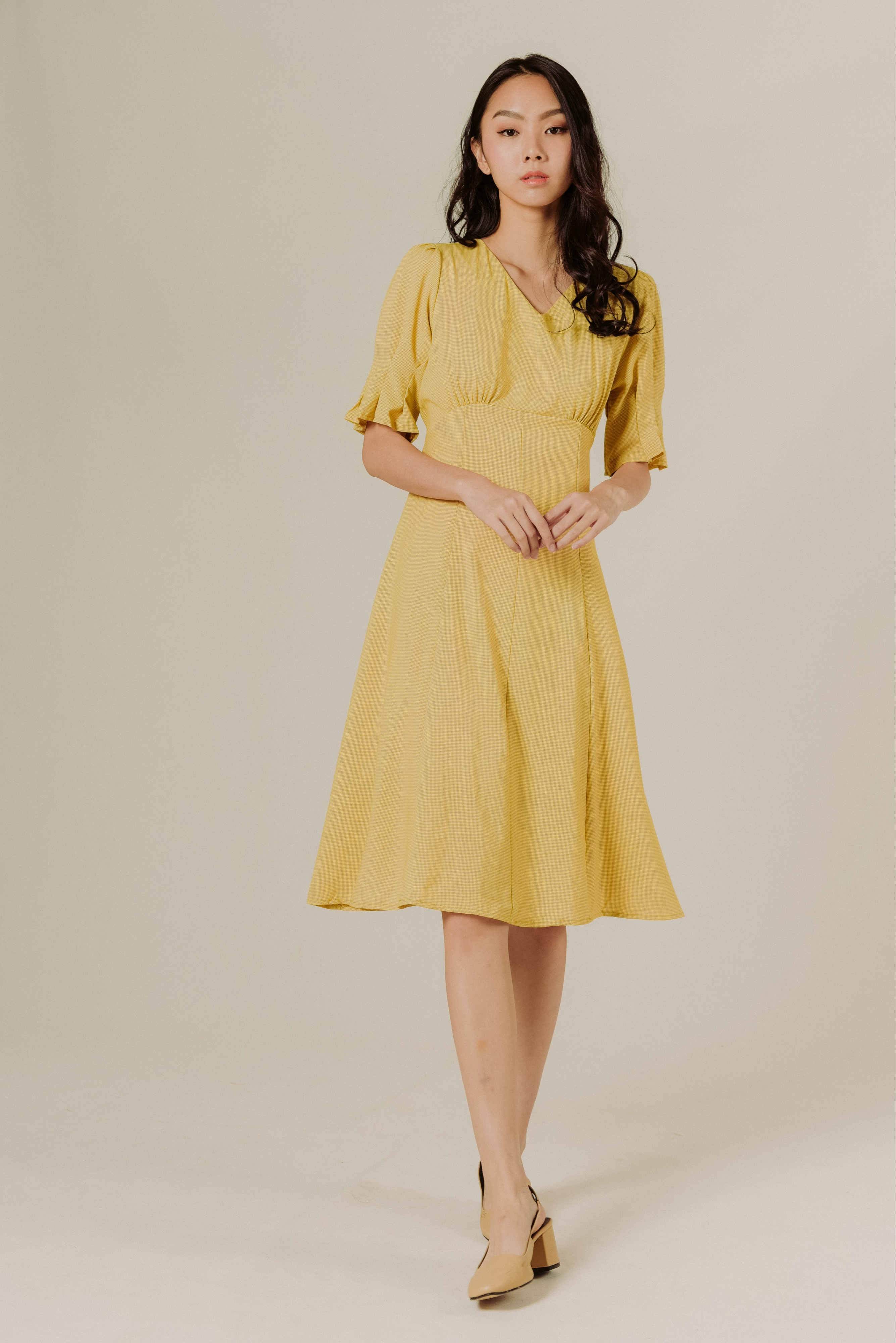 Kiko Tie Dress - Check Yellow