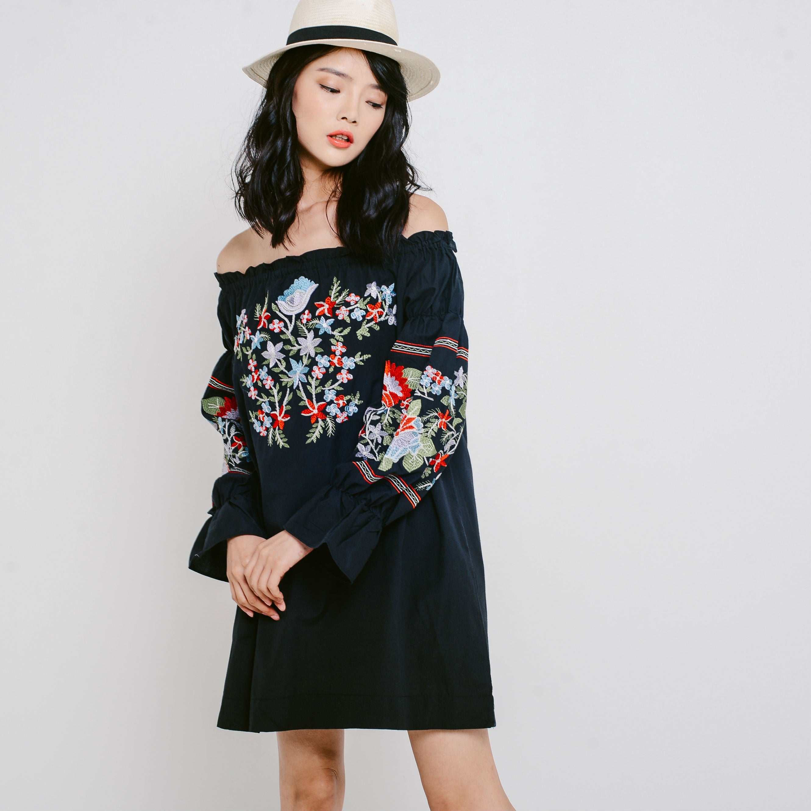Kayla Embroidered Dress - Greyish Black