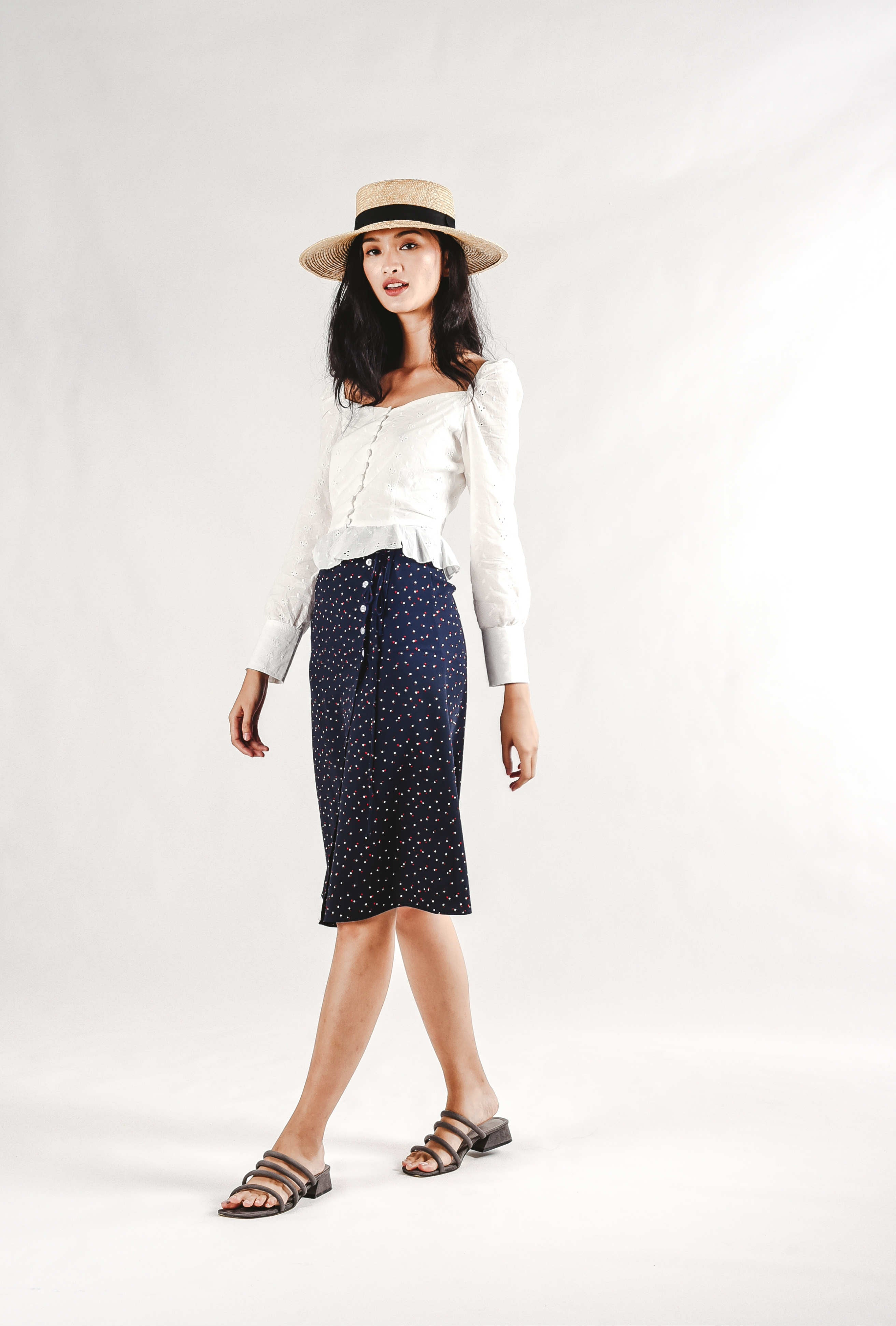 Thiera Buttoned Skirt - Navy