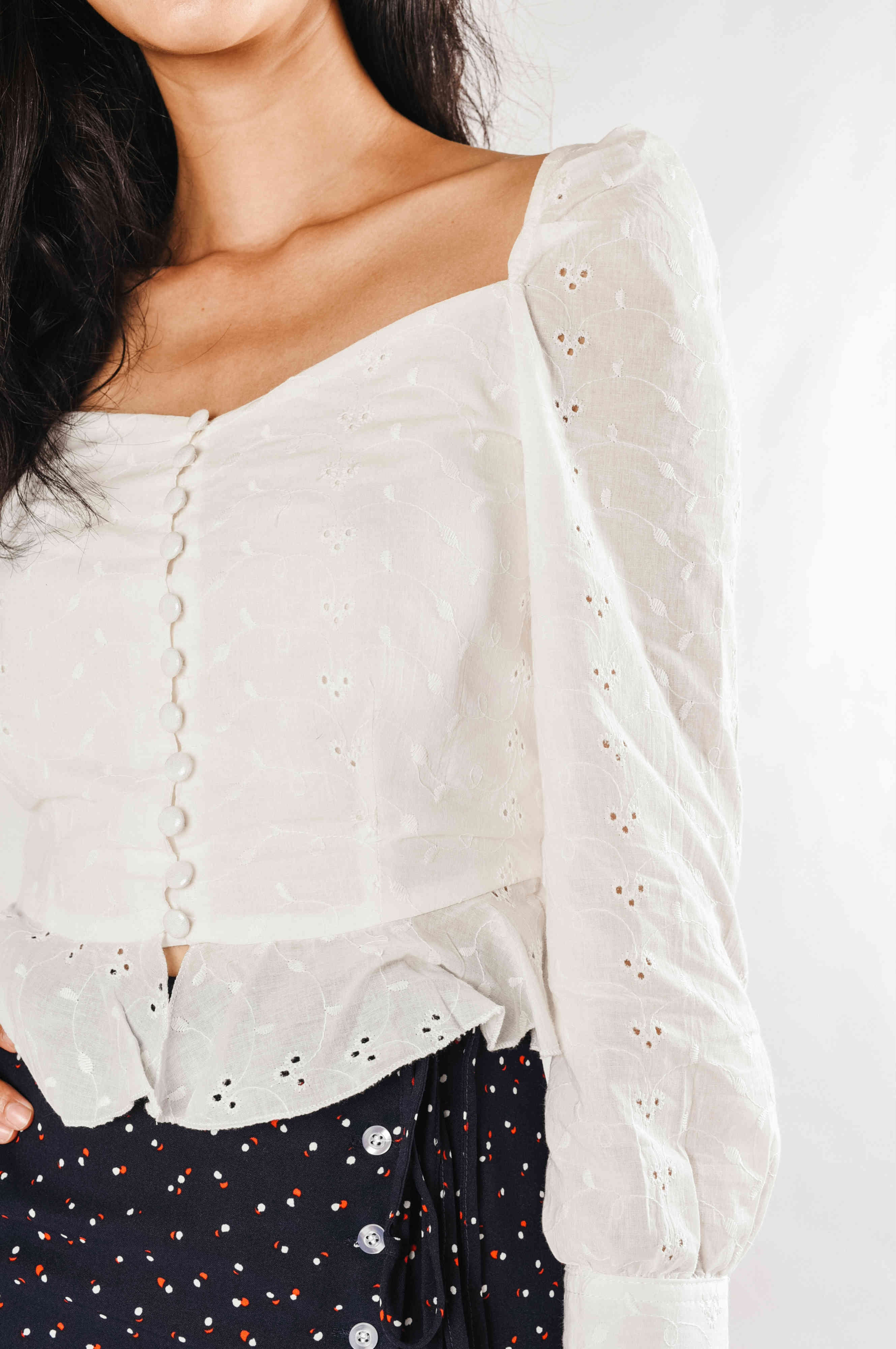 Lisa Buttoned Eyelet Top