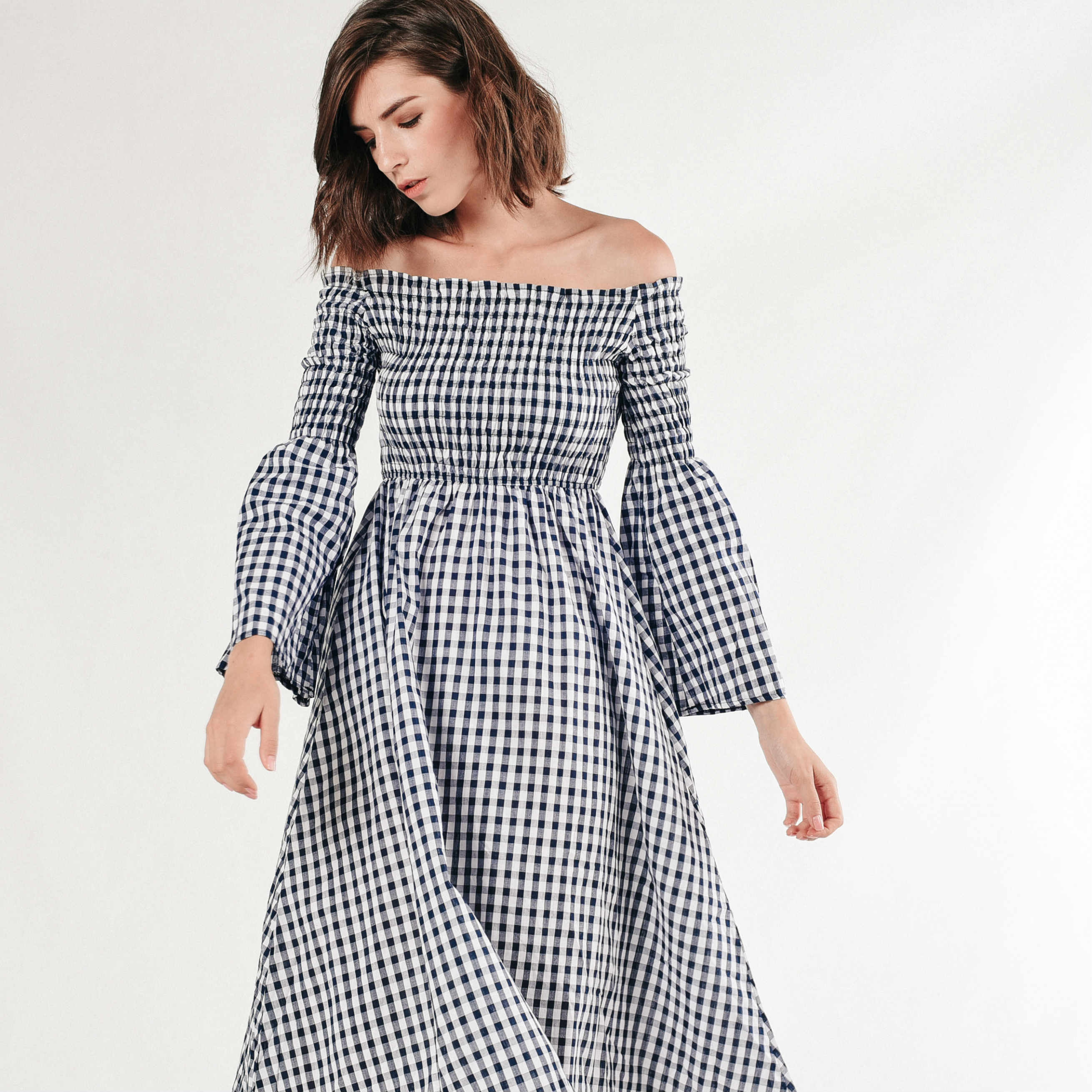 Viola Off-Shoulder Gingham Dress