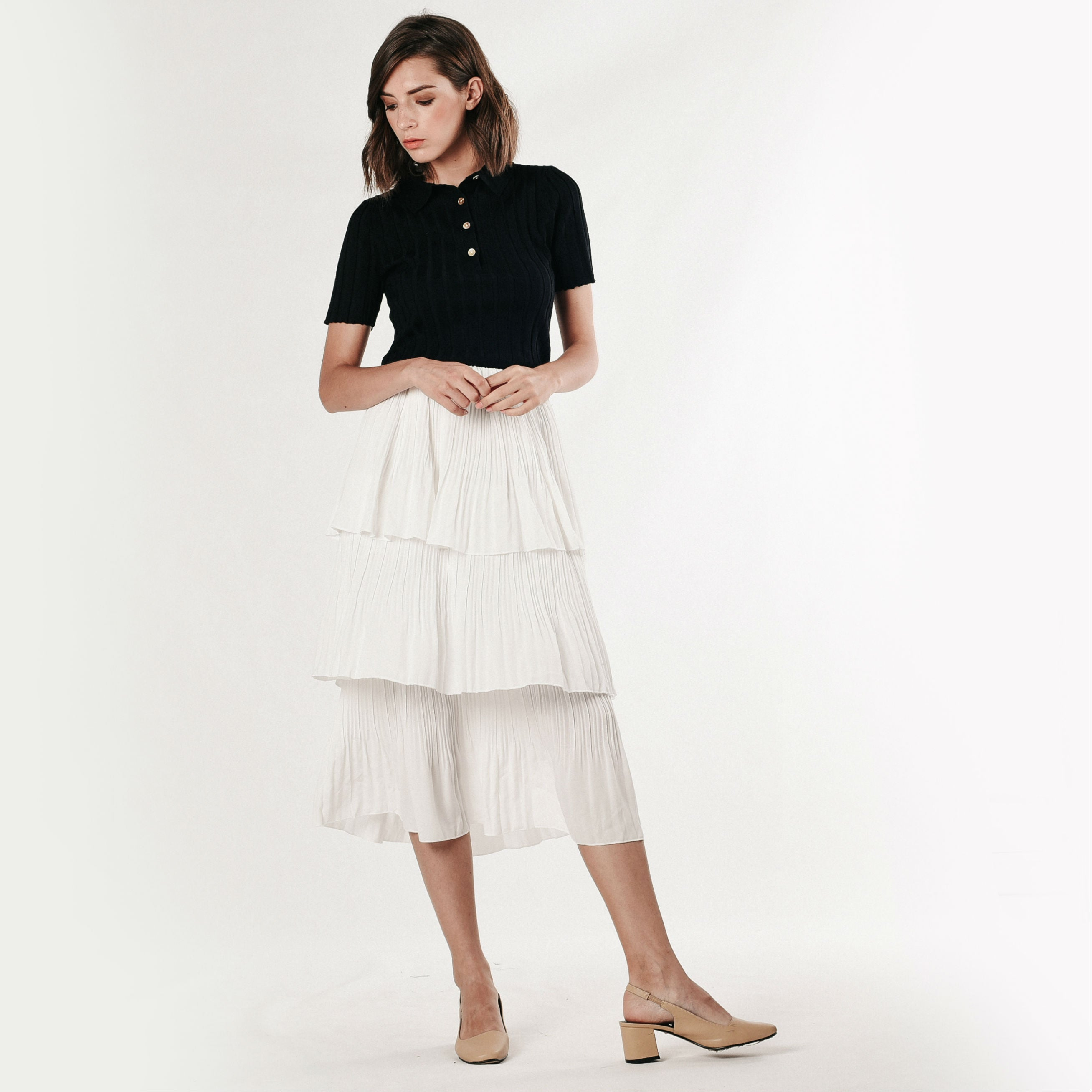 Layered Pleated Skirt - White