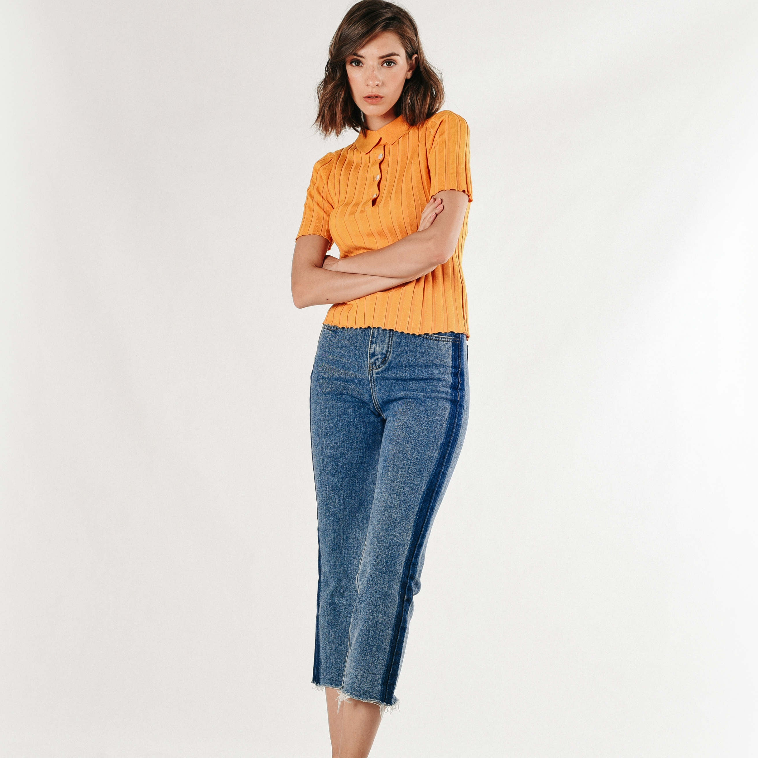 Tracy Knit Top - Mustard