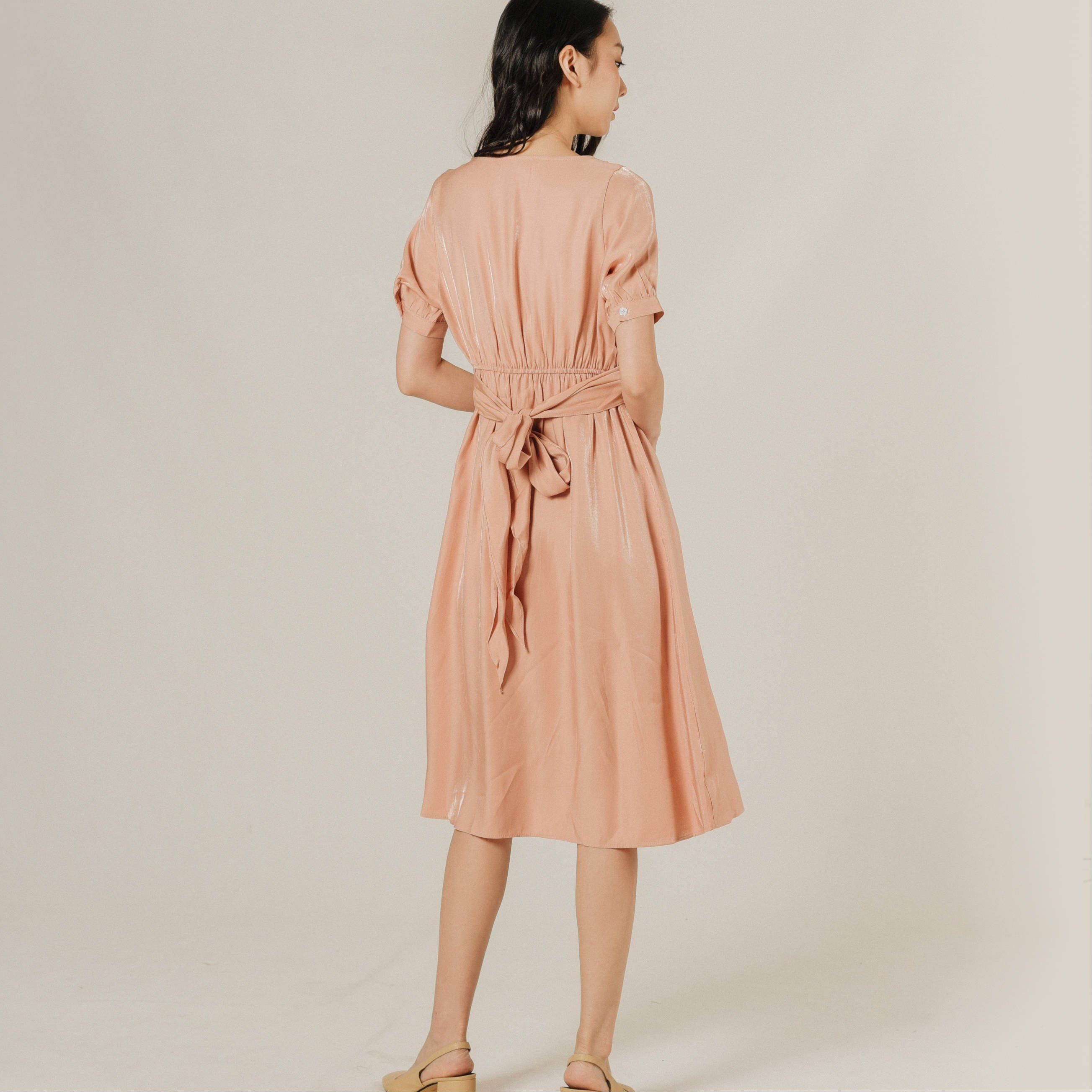 Erin Buttoned Dress - Peach