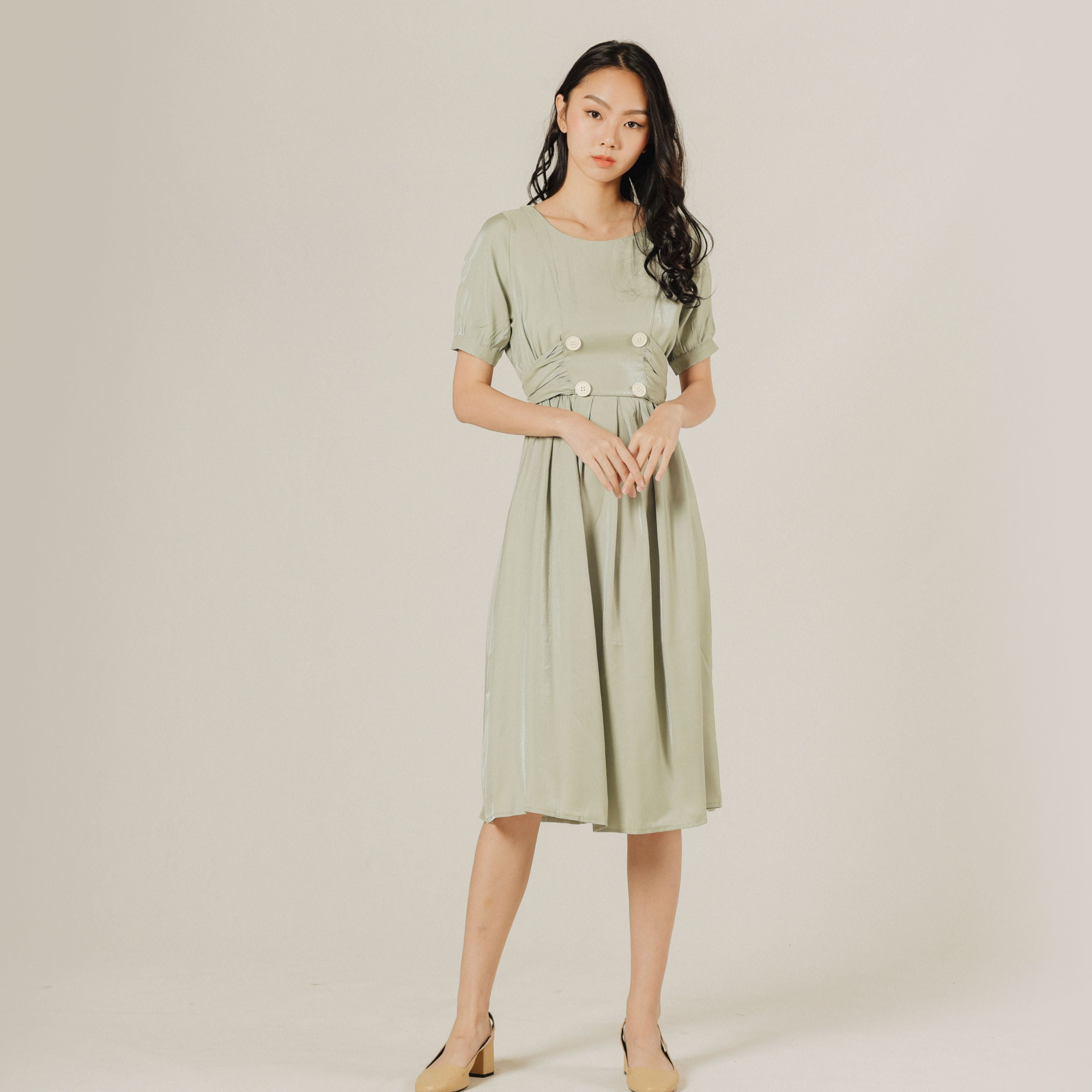 Erin Buttoned Dress - Dusty Green