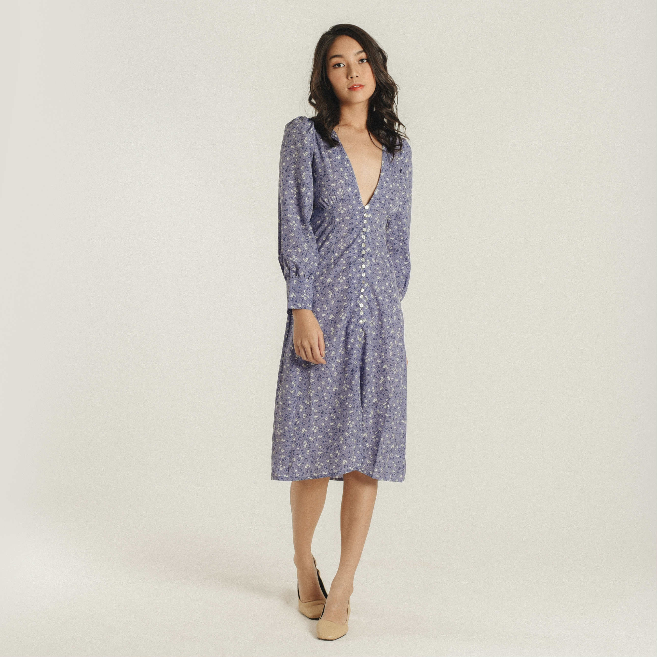 Rita Lavender Buttoned Dress
