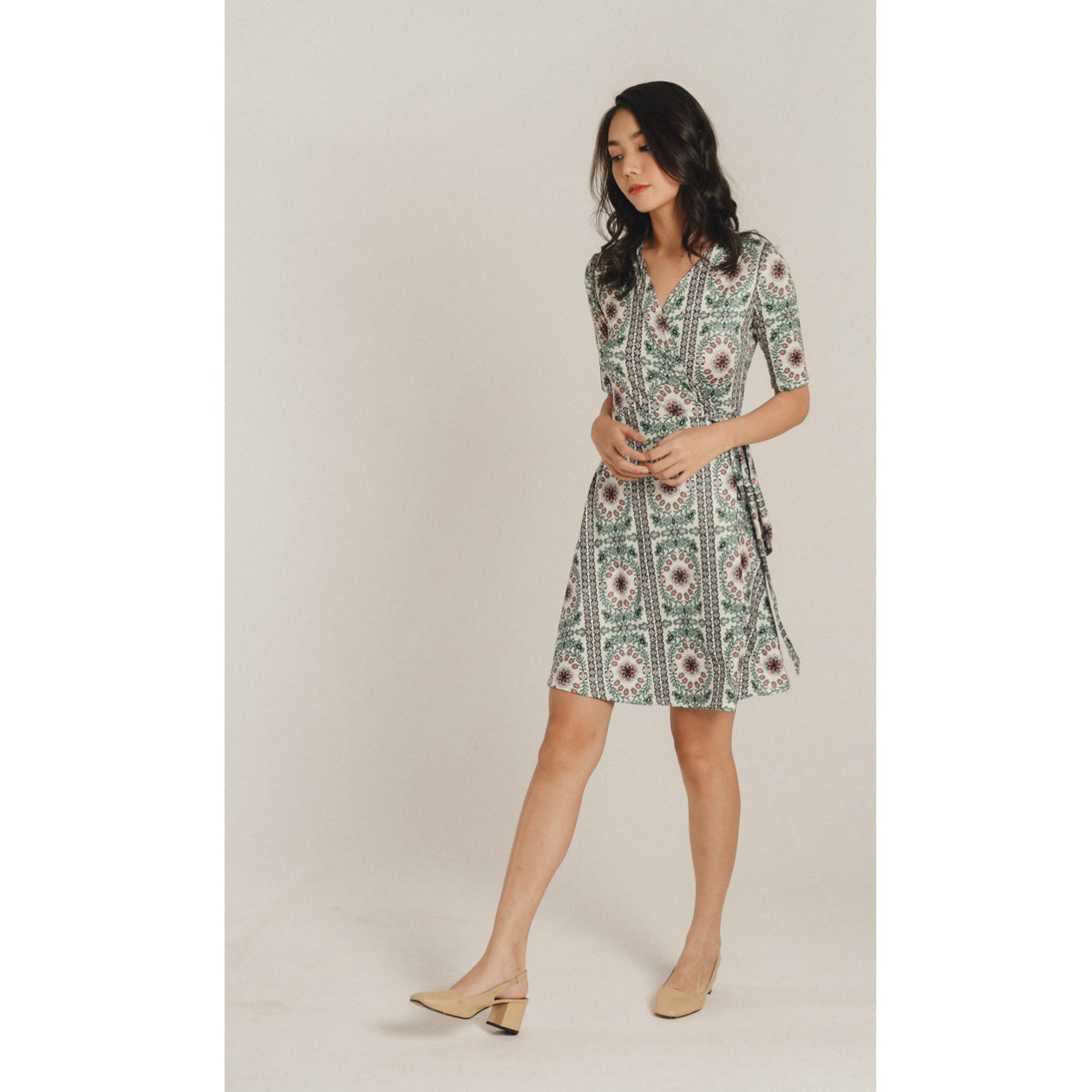 Andrea Printed Wrap Dress