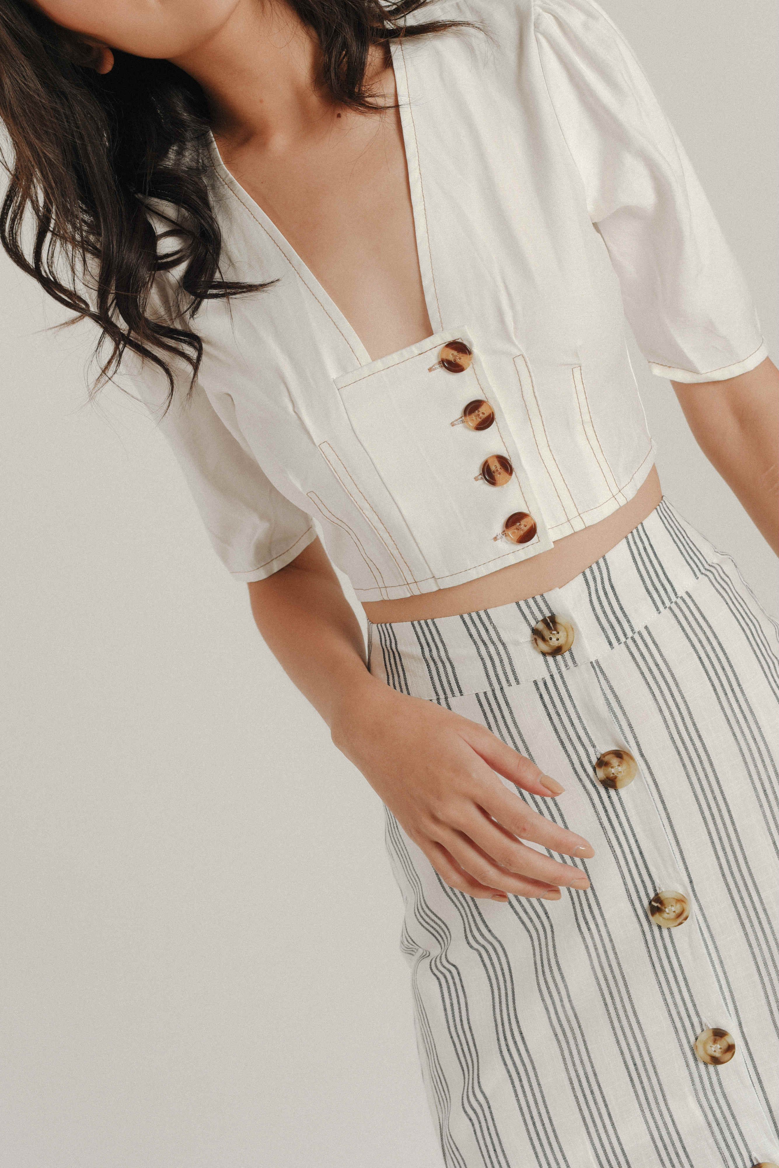 Joan Buttoned Cropped Top