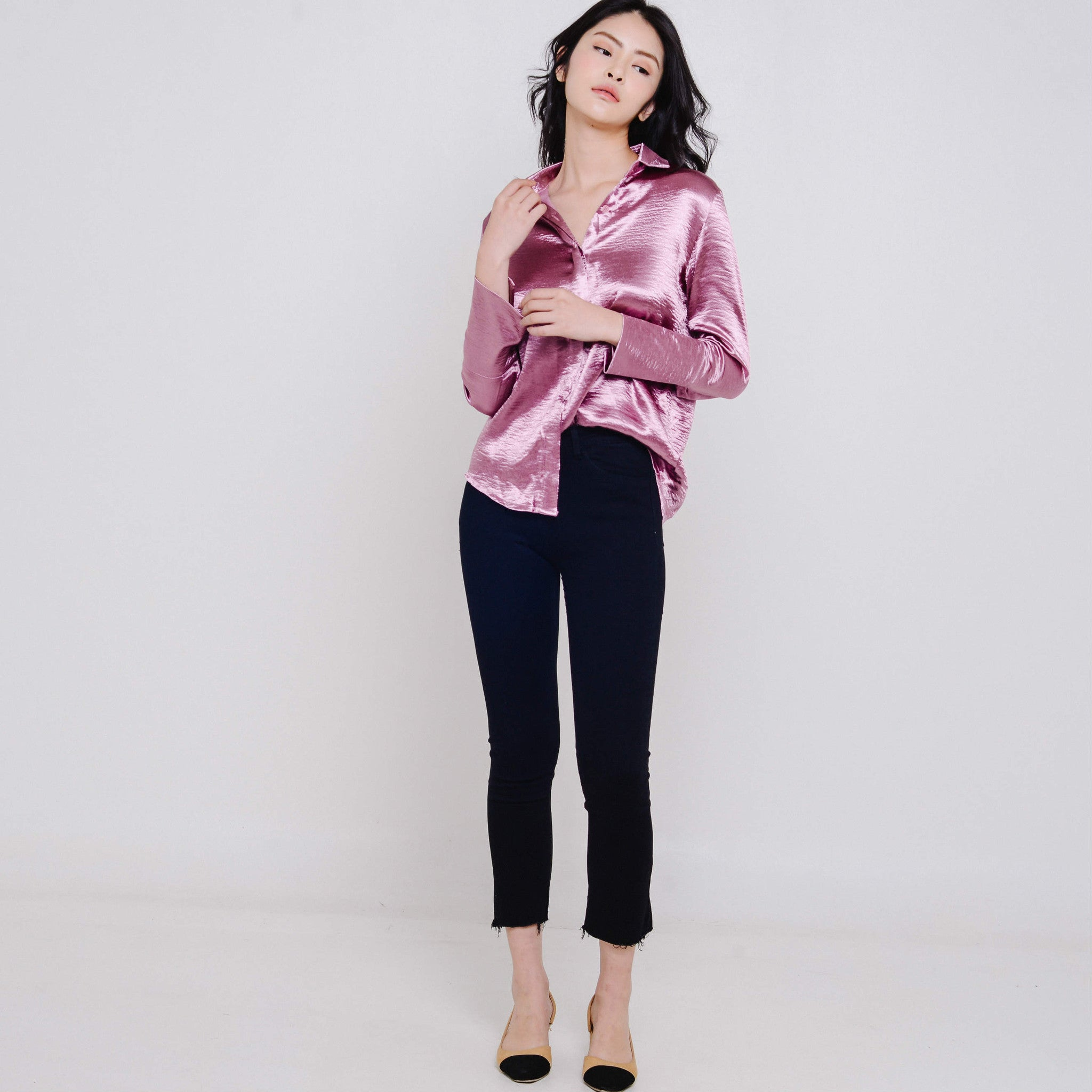 Eden Satin Embroidered Top - Blush Pink