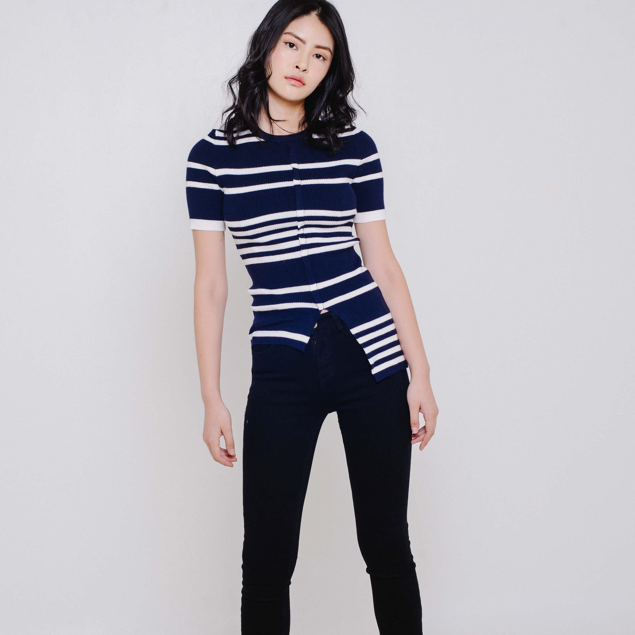 Debbie Striped Knit Top