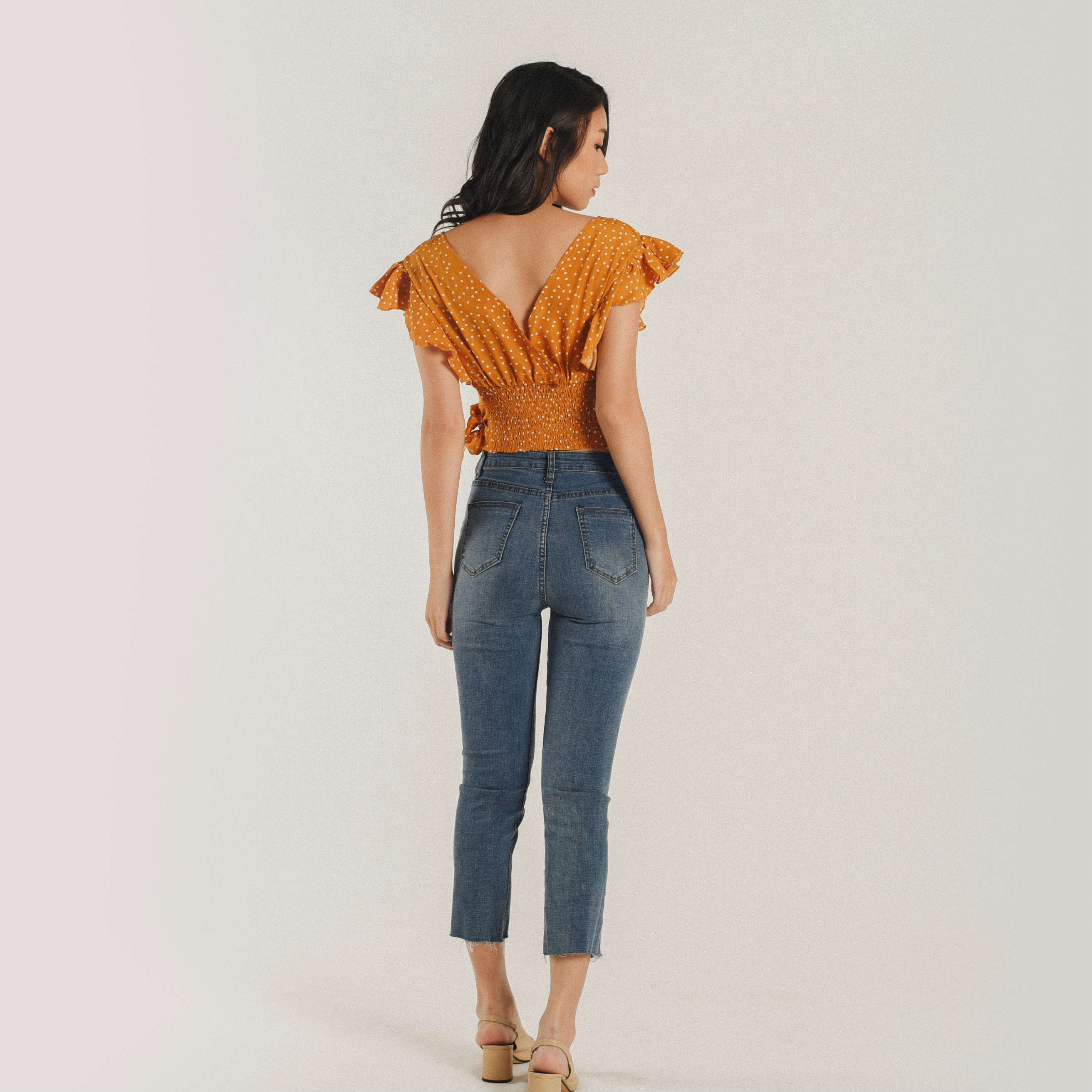 Rei Polka Crop Top - Mustard