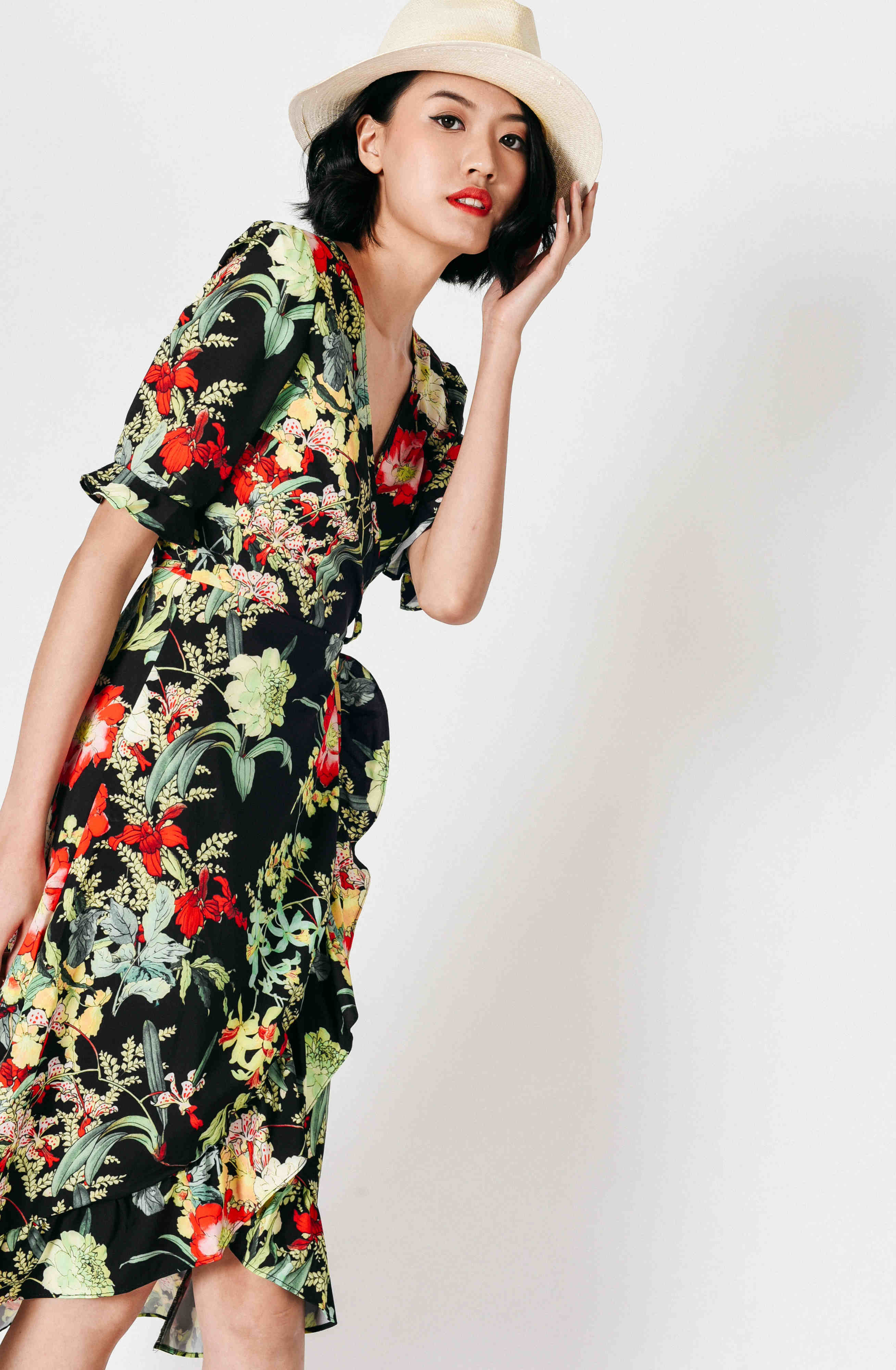 Trina Floral Asymmetrical Wrap Dress