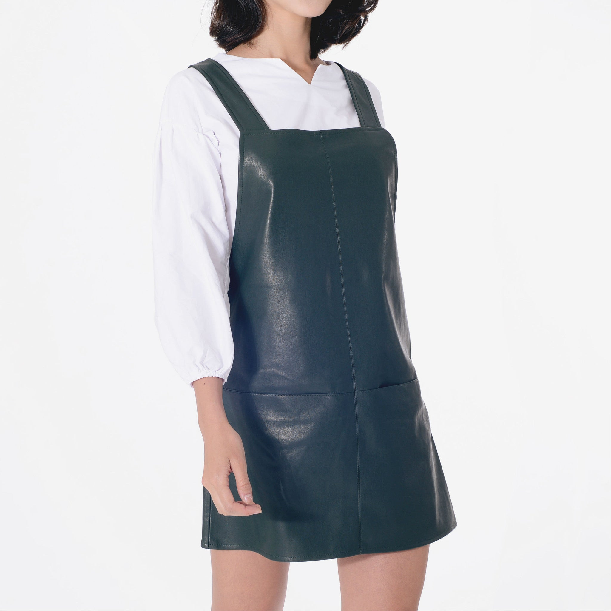 Leanne Leatherette Jumper - Green