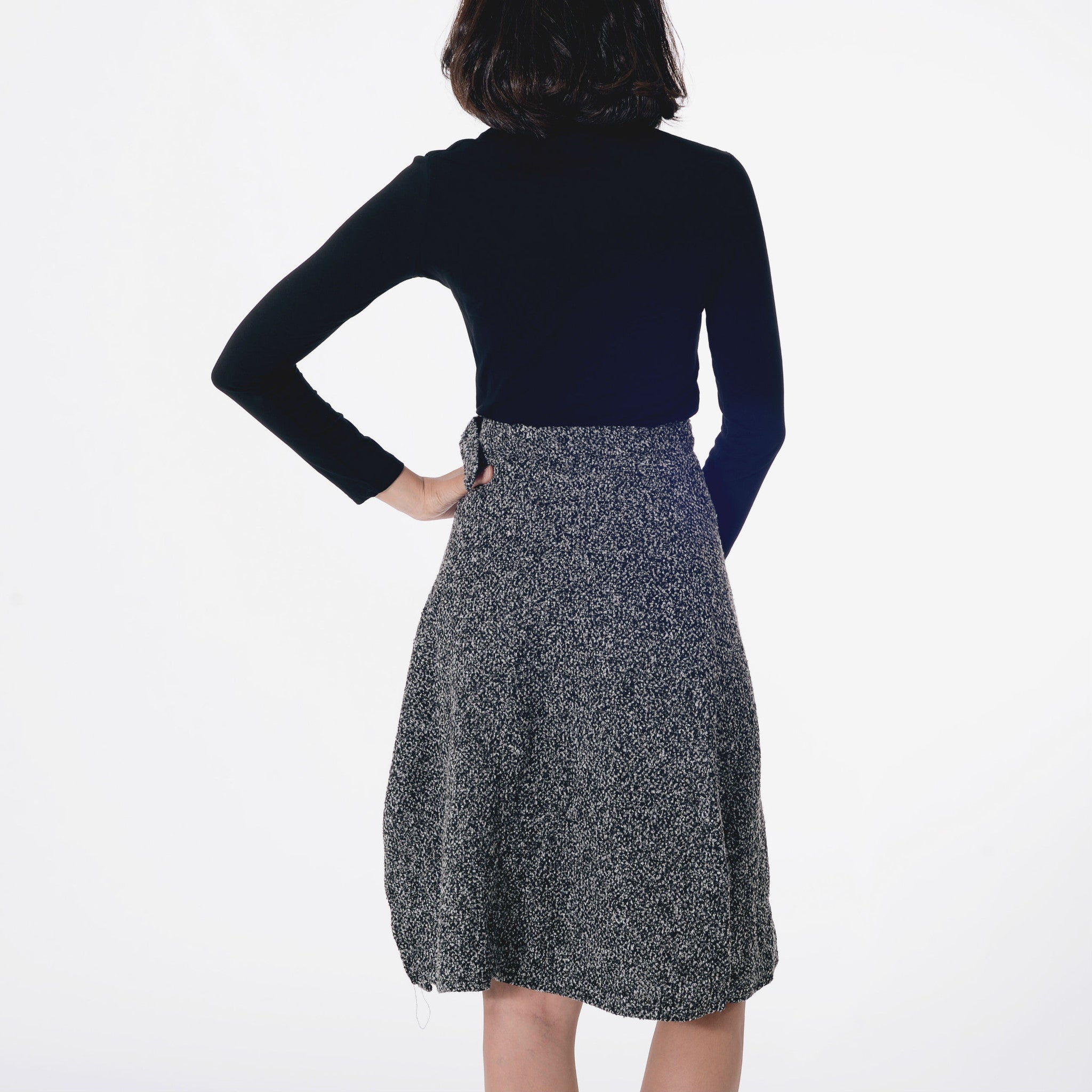 Split Wool Skirt - Grey