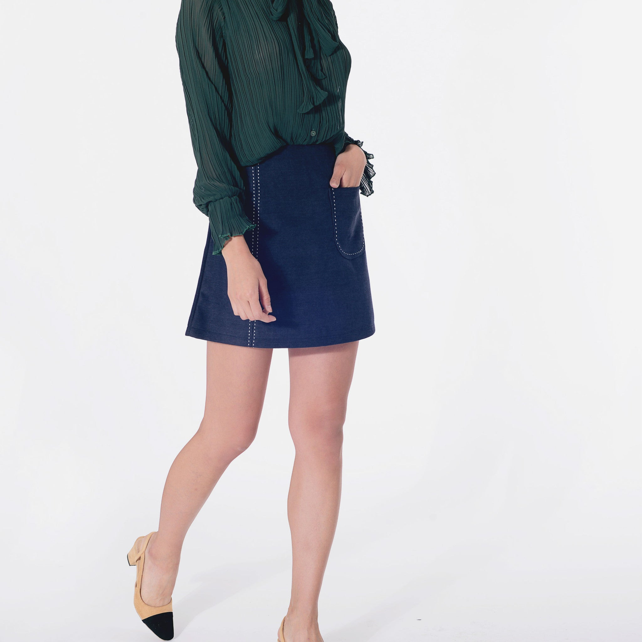 Sandra Velvety Skirt - Navy Blue
