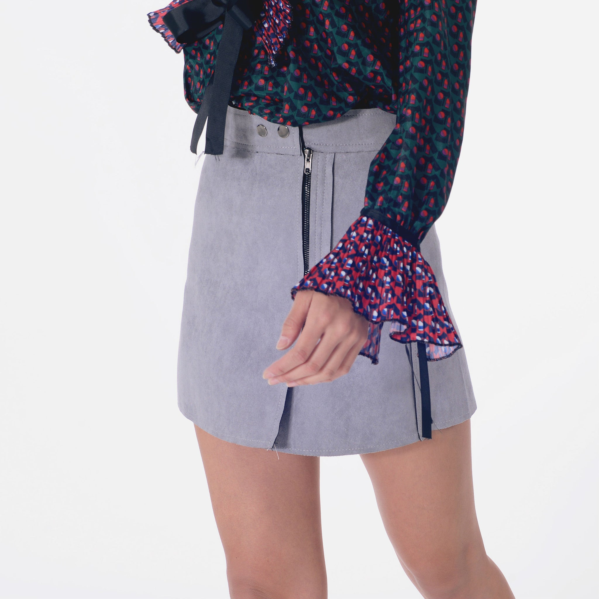 Suede Zipped Skirt - Grey