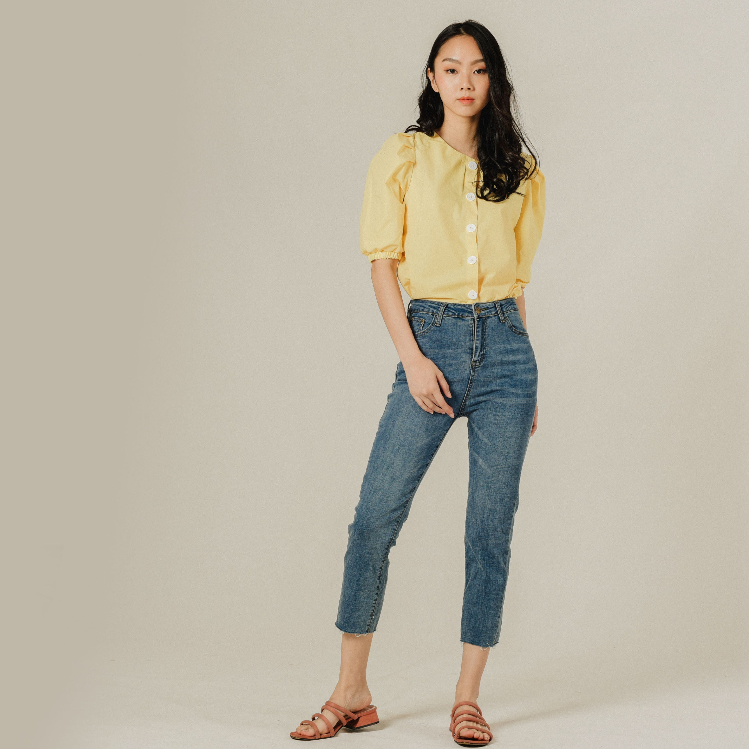 Wendie Buttoned Top - Yellow