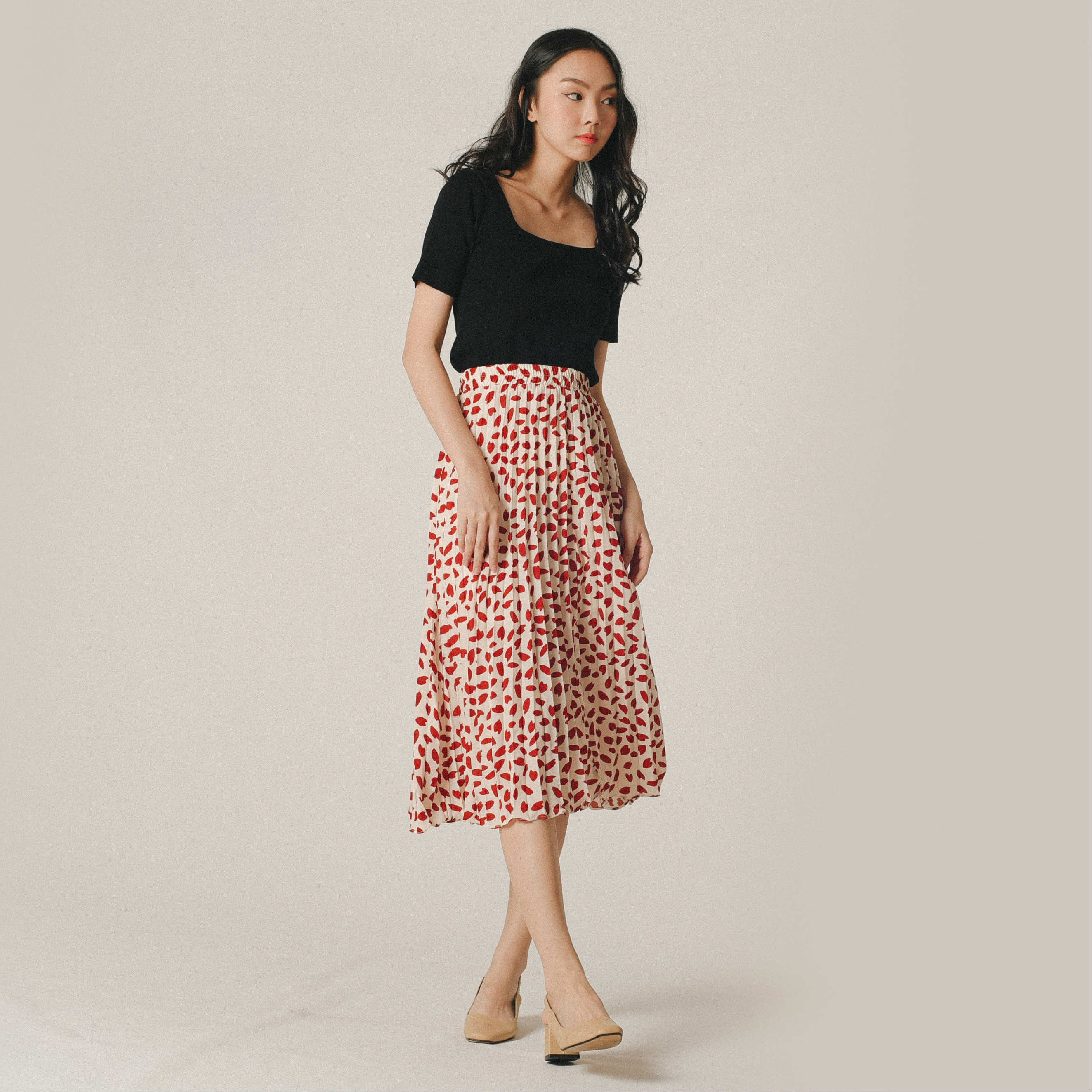 Chrissy Print Skirt - Red & White