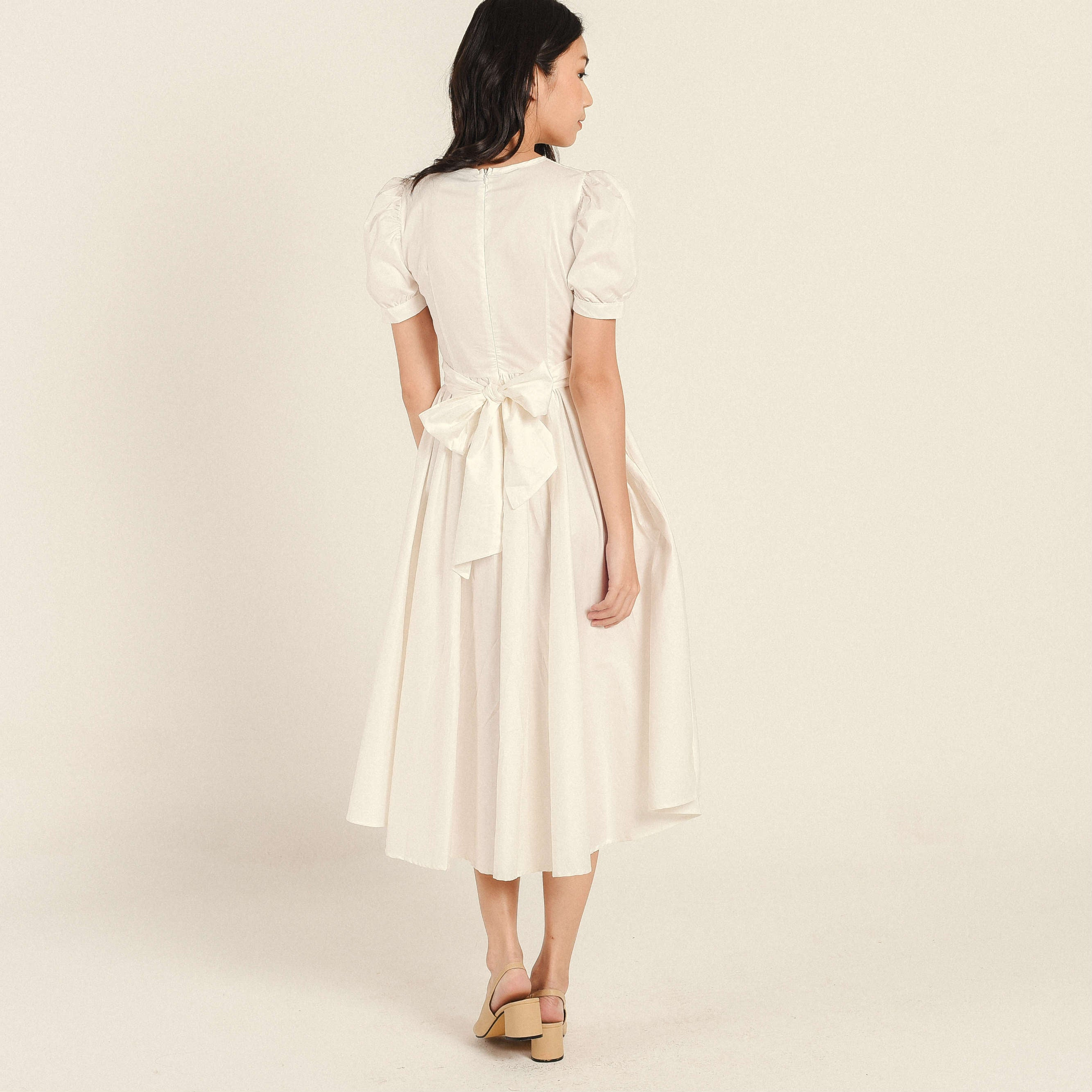 Mary Tie Dress - White