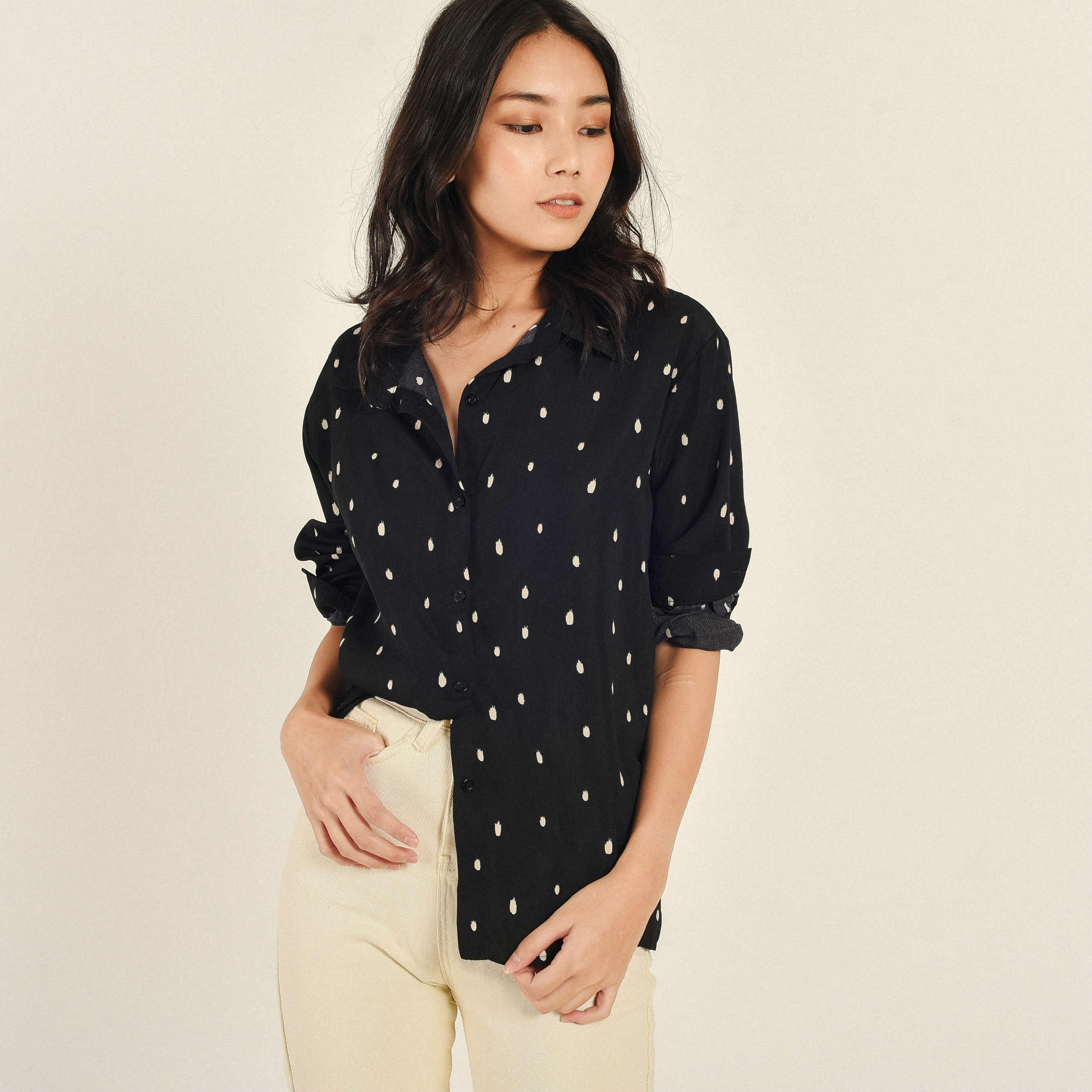 Sora Black Polka Top