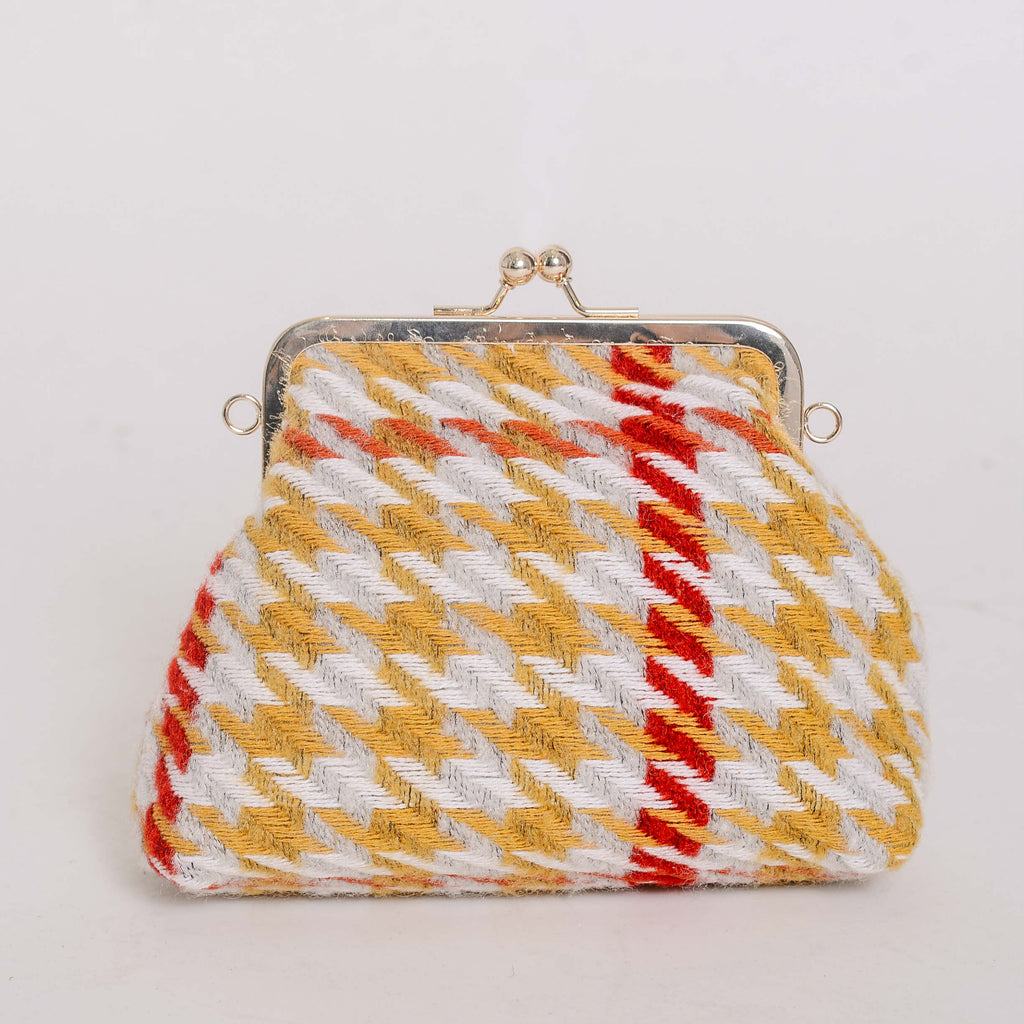 Candice Houndstooth Bag - Mustard