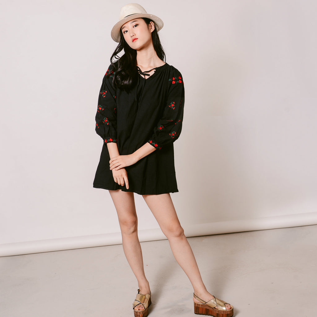 Kassie Embroidered Dress - Black