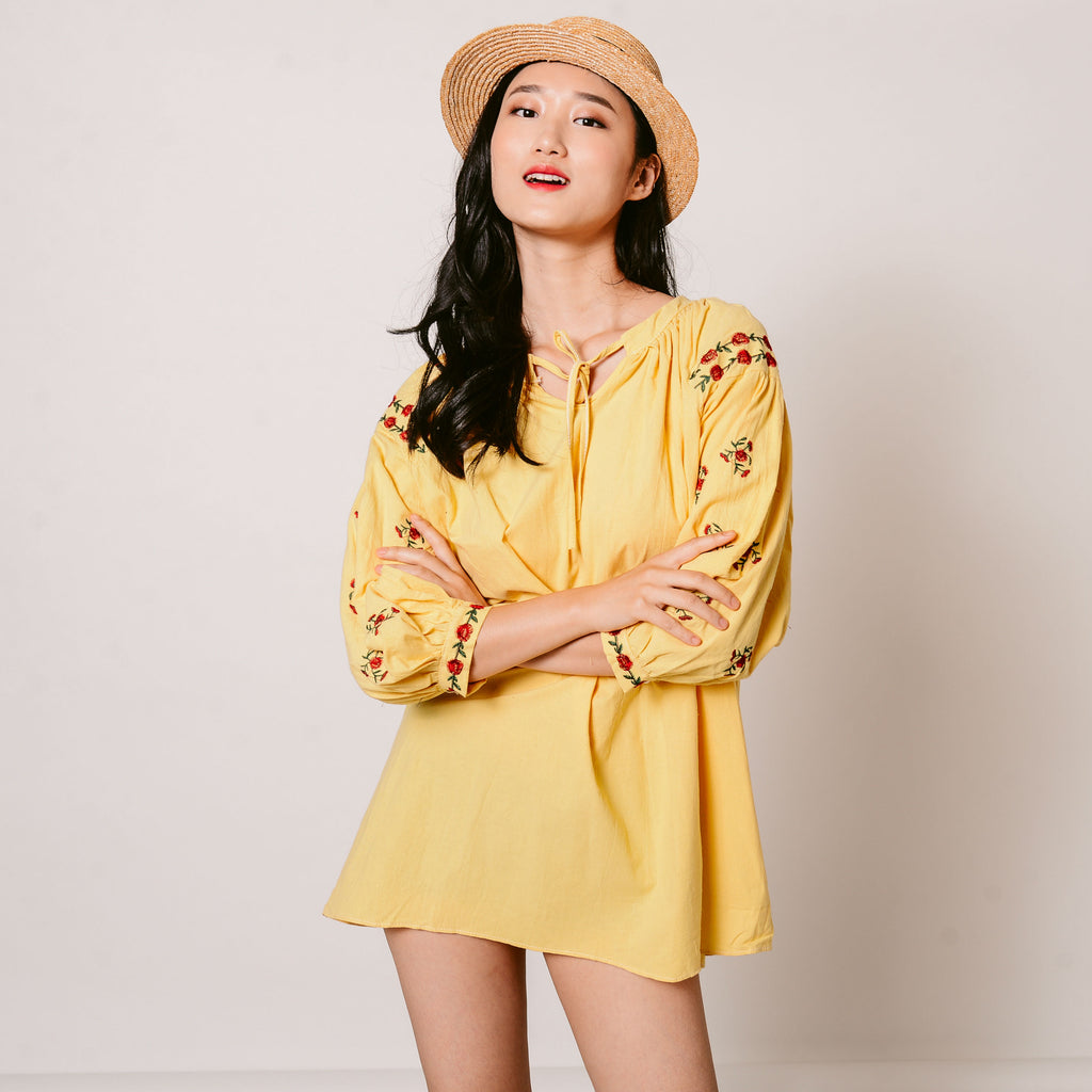 Kassie Embroidered Dress - Yellow