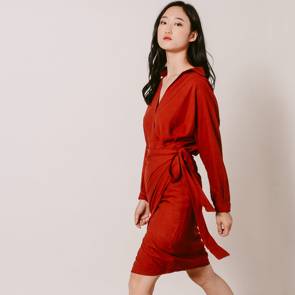 Millie Wrap Dress - Reddish Brown