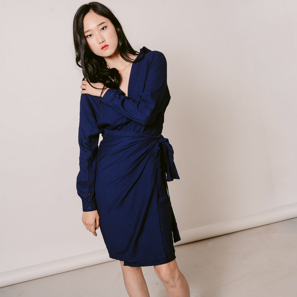 Millie Wrap Dress - Navy Blue