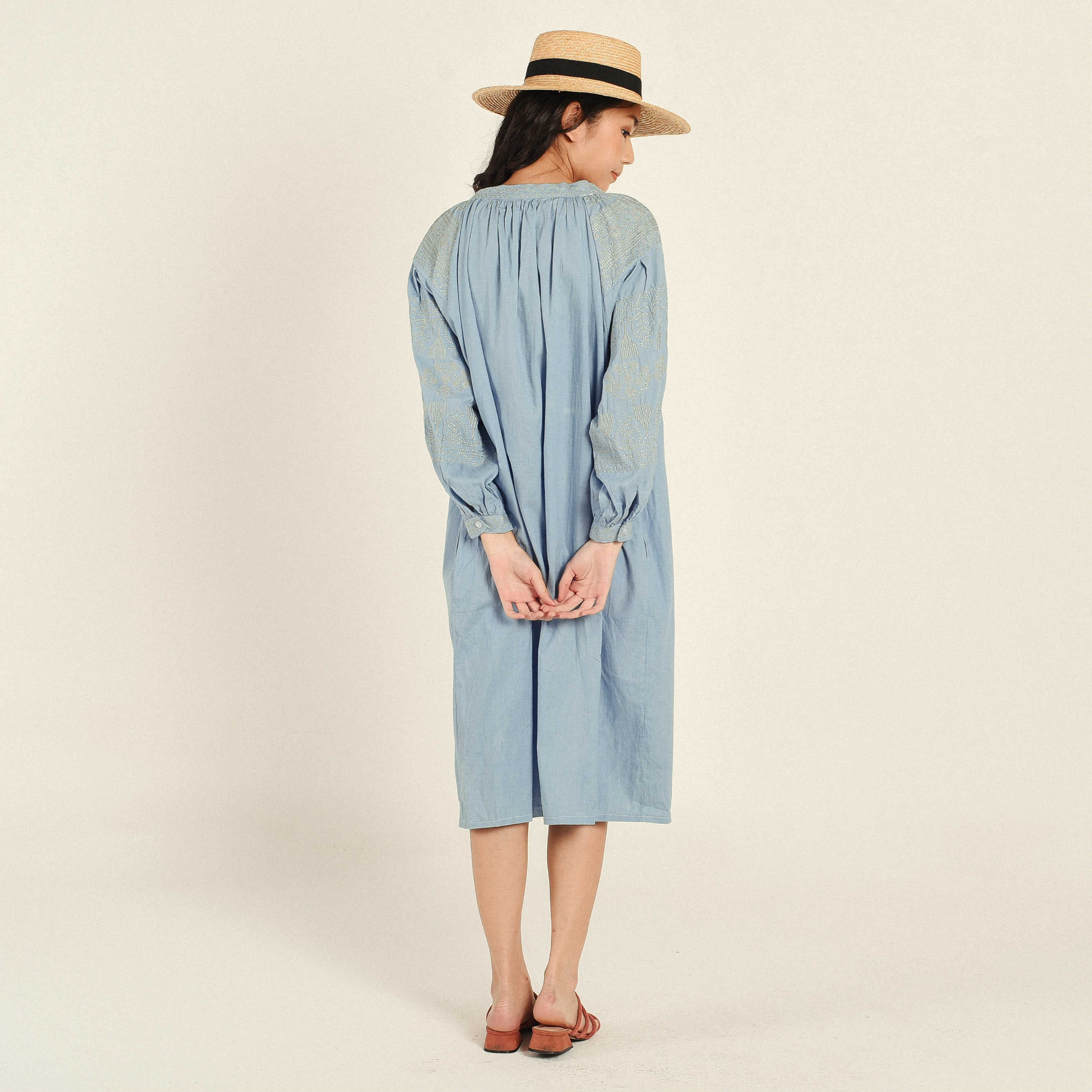 Jena Embroidered Blue Dress