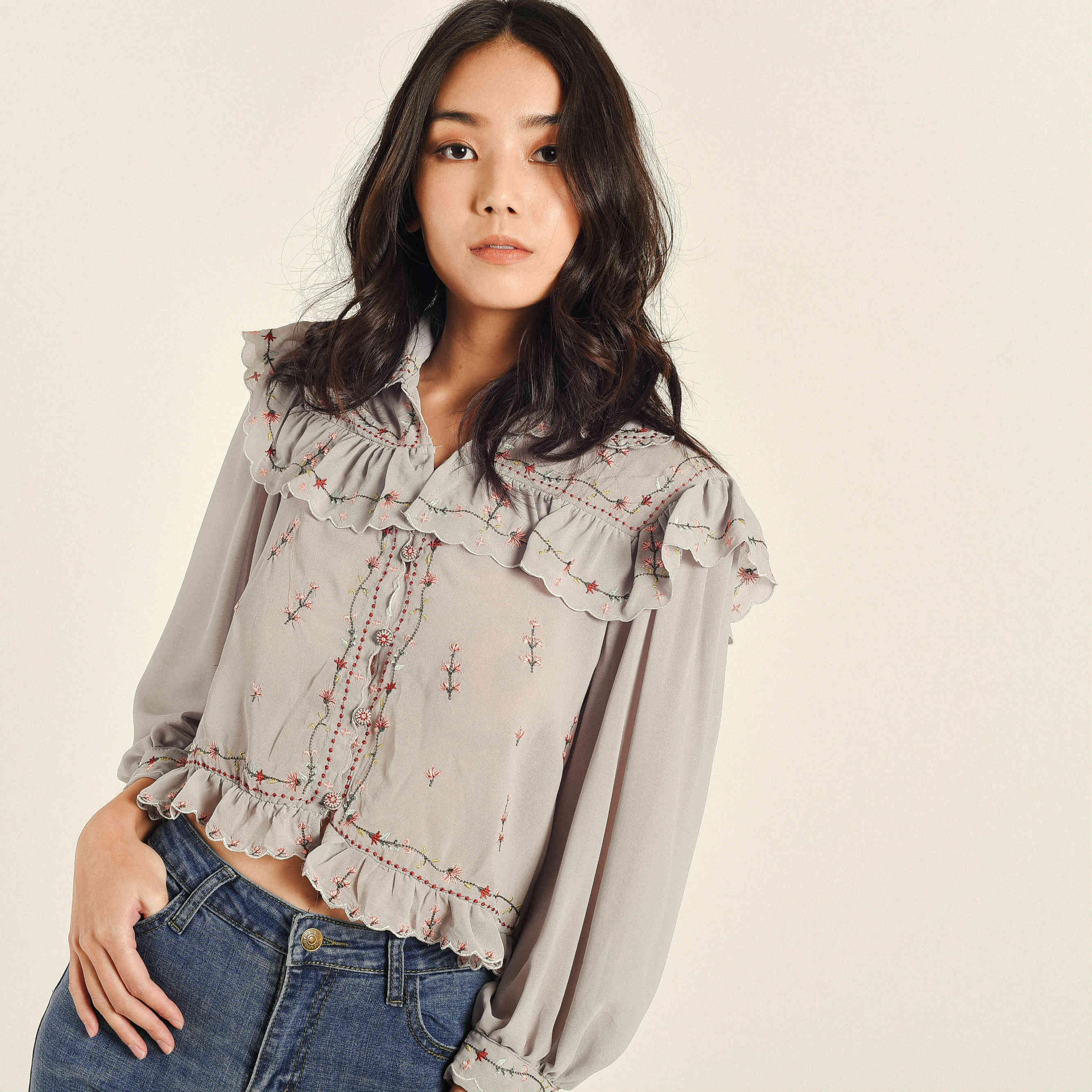 Wendy Embroidered Collared Top