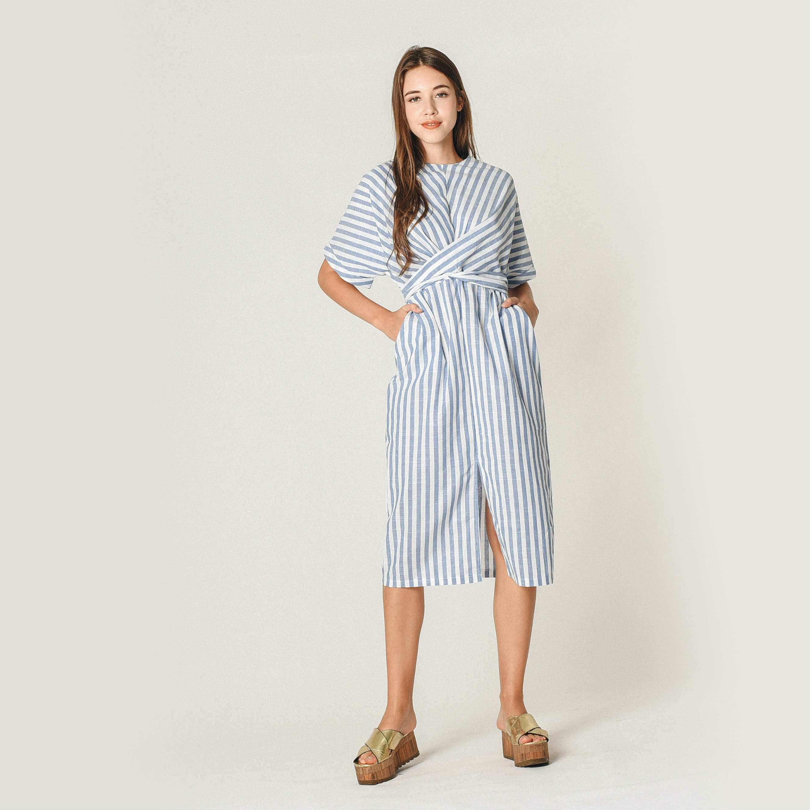 Zira Striped Wrap Dress
