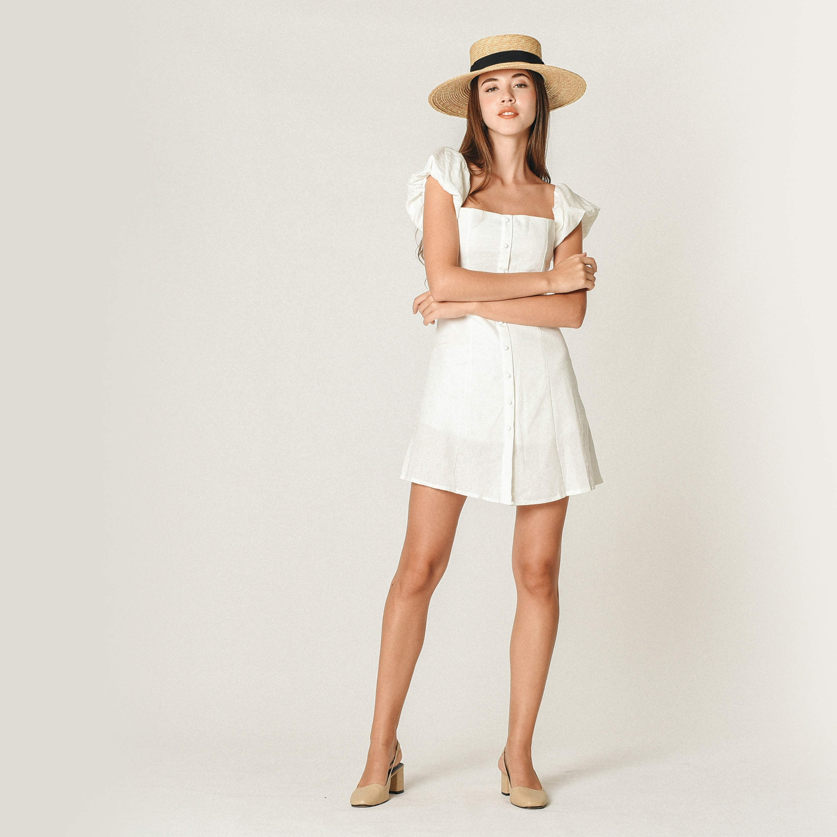 Karlie Off-Shoulder Buttoned Dress - White