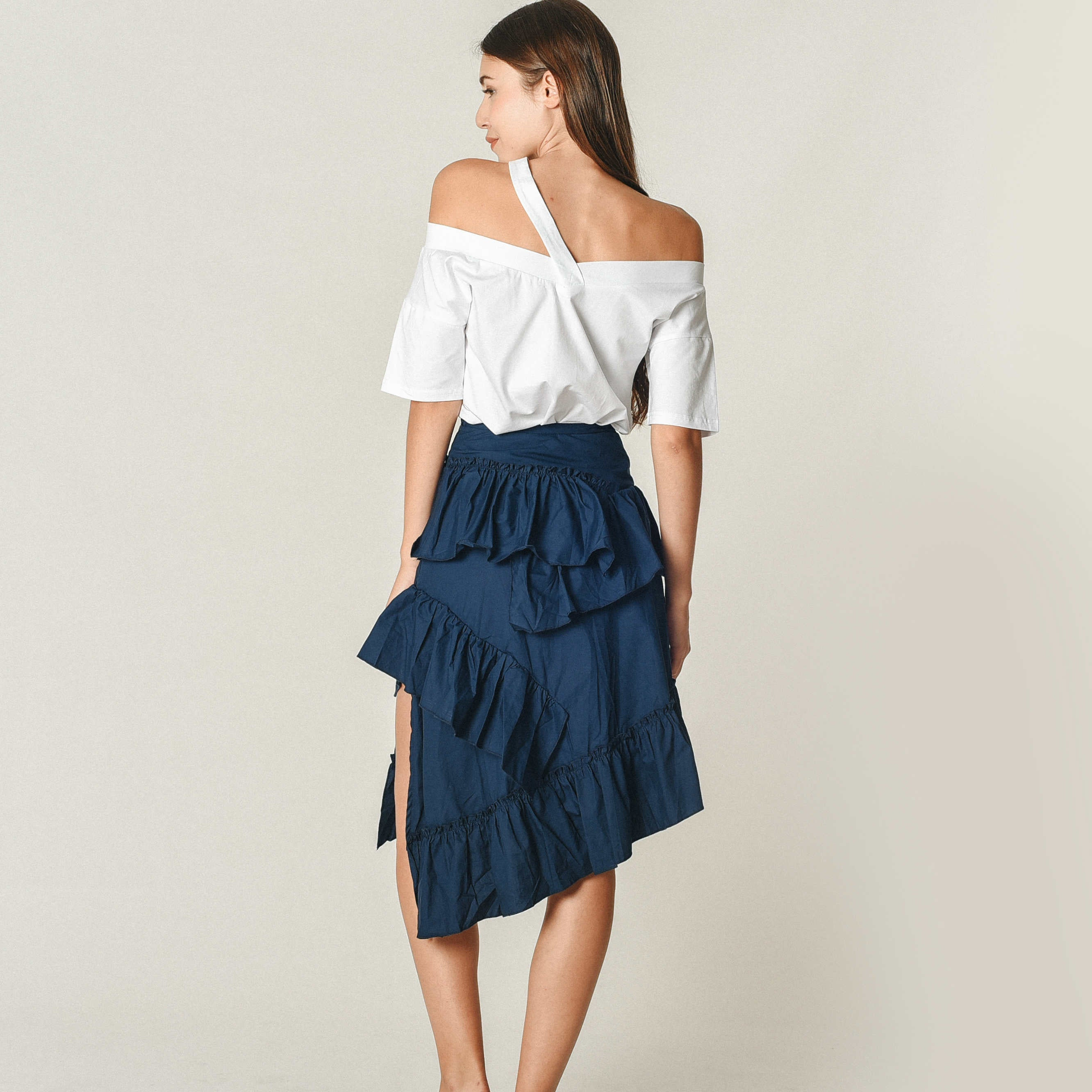 Pearlie Layered Split Skirt