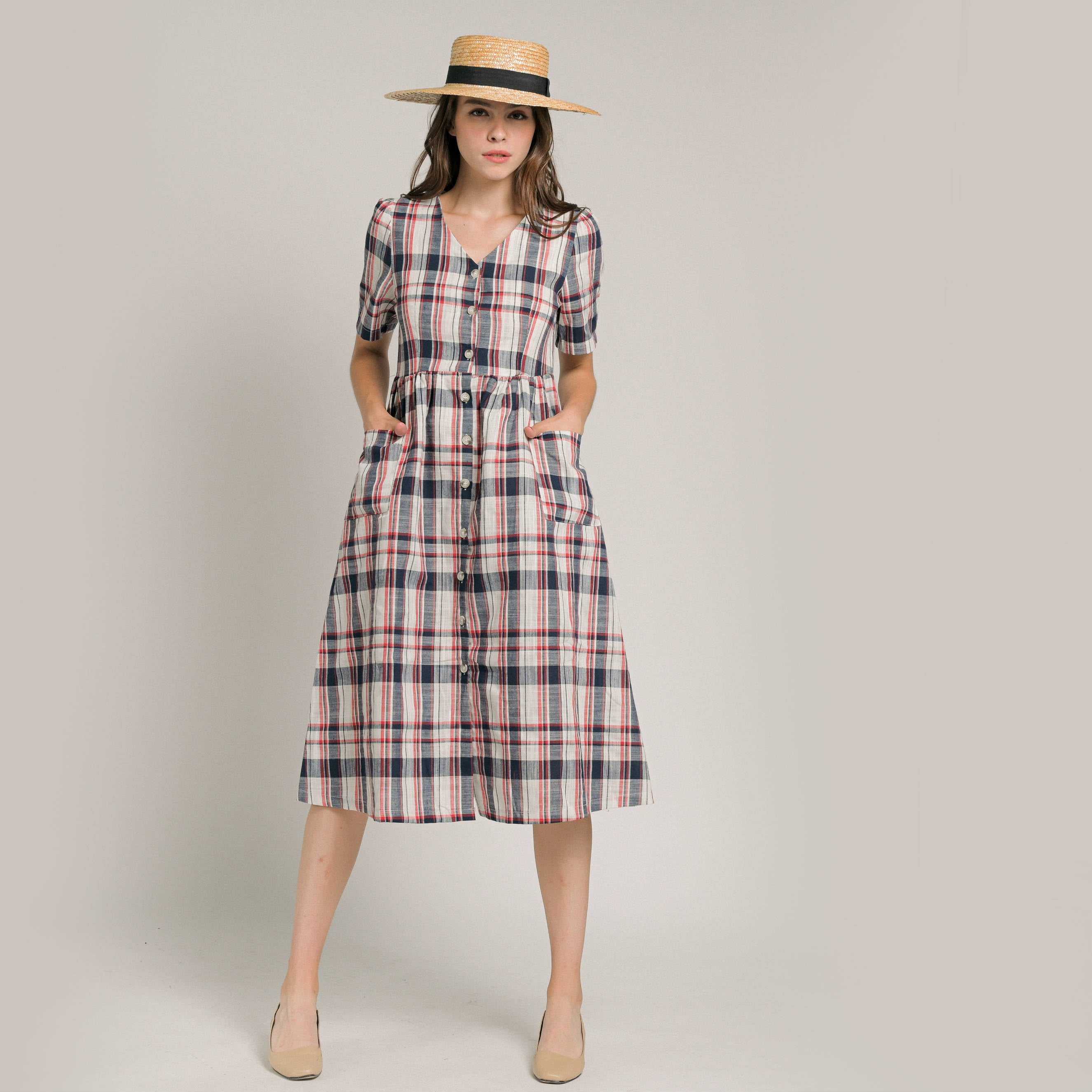 Cheryl Checked Linen Dress